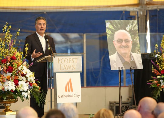 U.S. Rep. Mark Takano speaks during a ceremony remembering Greg Pettis in Cathedral City, Feb. 1, 2019.