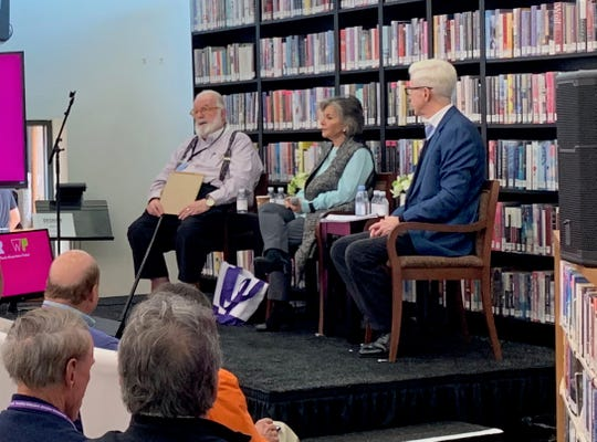 Van Gordon Sauter speaks alongside former U.S. Sen. Barbara Boxer, D-Calif., and former California Gov. Gray Davis during the Rancho Mirage Writers Festival at the Rancho Mirage Public Library & Observatory