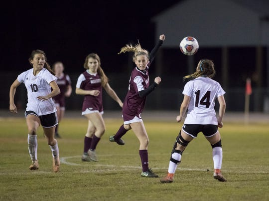 Hailey Bastian (23) follows the ball after heading it during the District 1-4A girls soccer tournament final between Niceville and Navarre at Navarre High School on Thursday, January 31, 2019.  Niceville won 7-6 in penalty kicks.