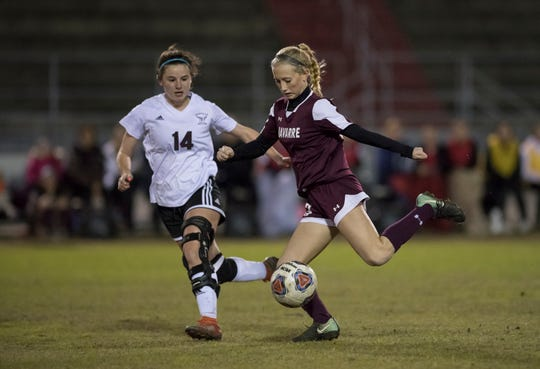 Hailey Bastian (23) dribbles the ball during the District 1-4A girls soccer tournament final between Niceville and Navarre at Navarre High School on Thursday, January 31, 2019.  Niceville won 7-6 in penalty kicks.