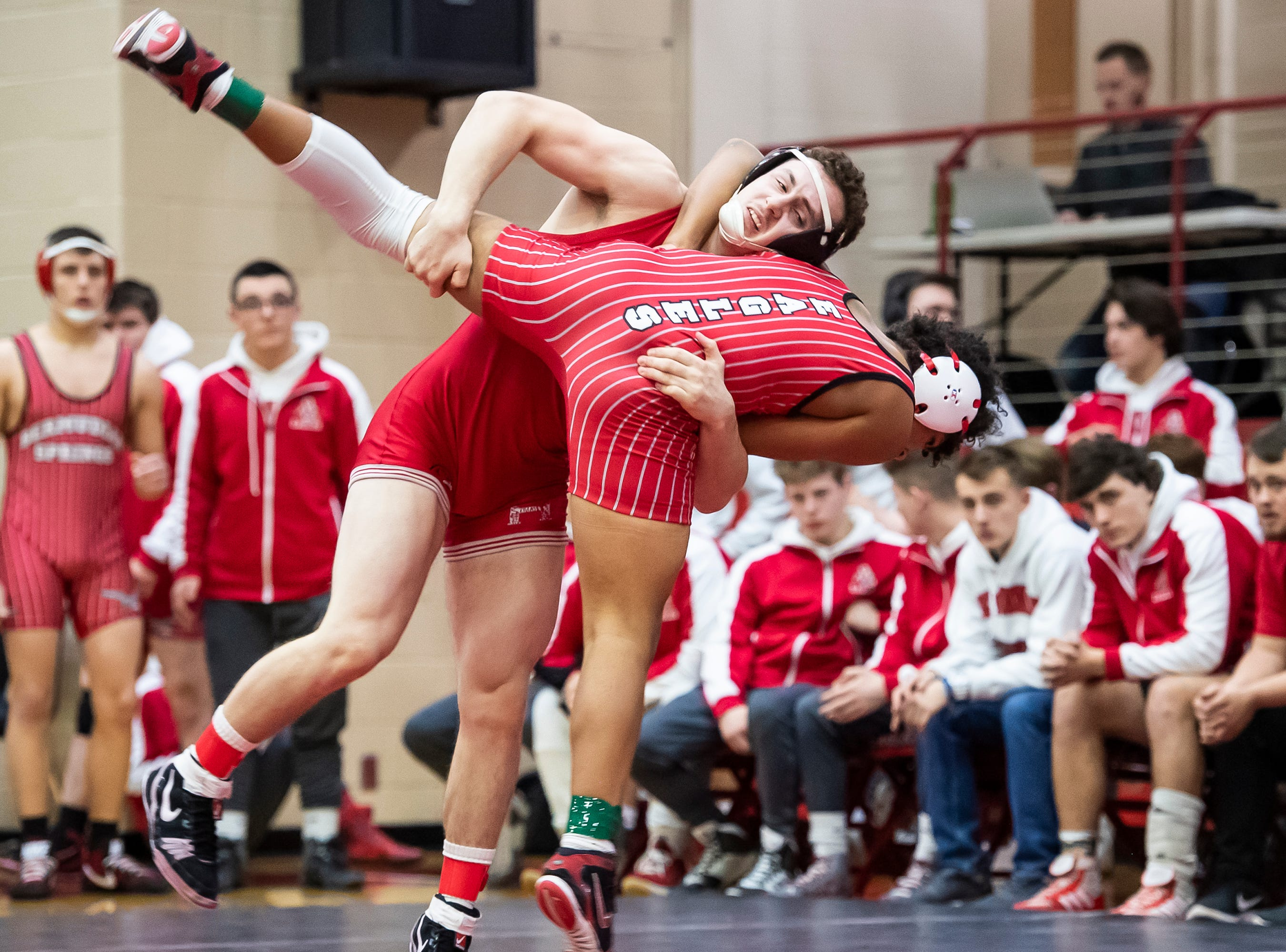 Bermudian Springs' Savauri Shelton, bottom, wrestles Hamburg's Brendan Hamilton in a 170-pound bout during a PIAA District III 2A semifinal match at Cumberland Valley High School January 31, 2019. The Eagles fell 43-24.