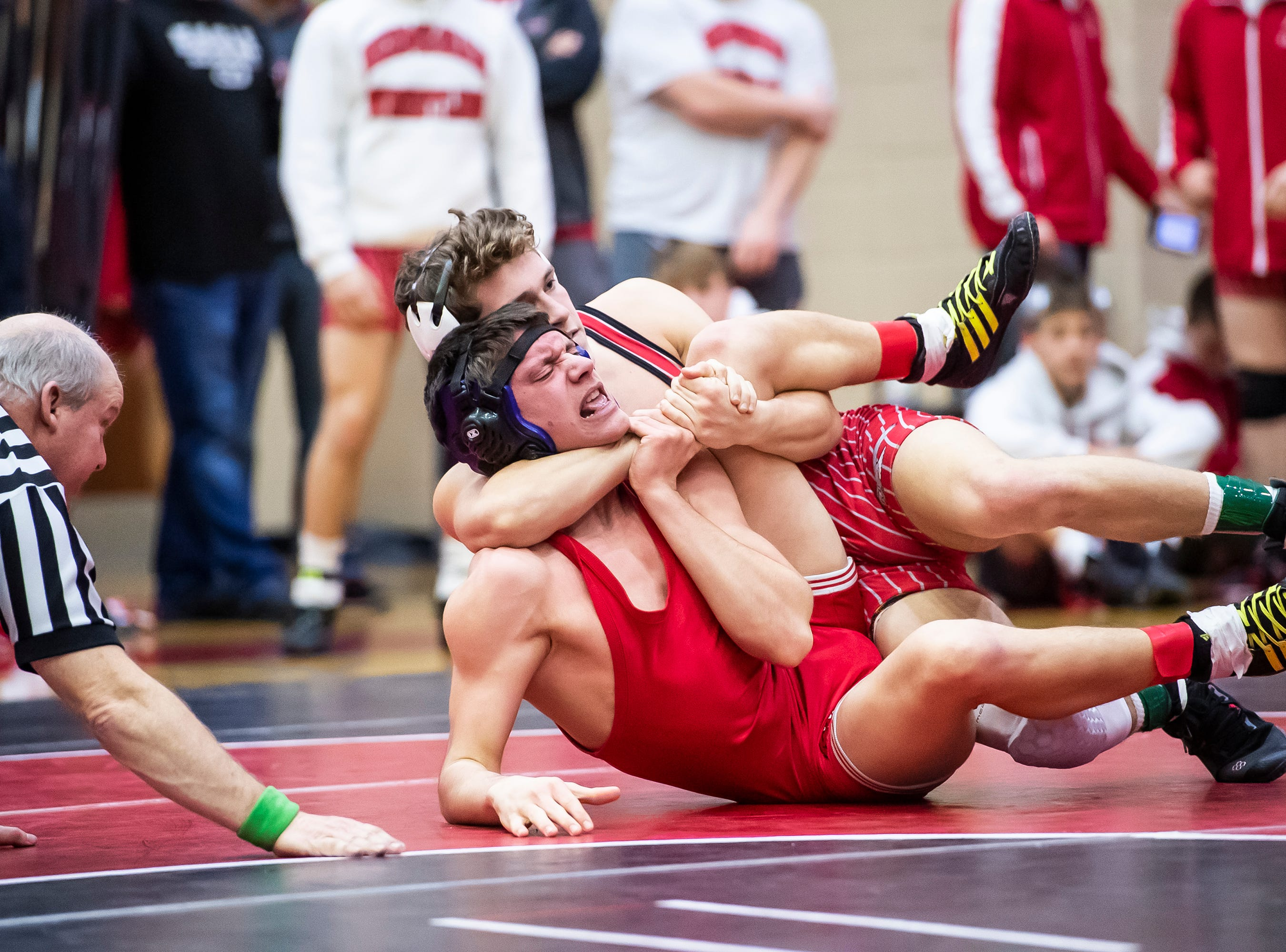 Bermudian Springs' Trenton Harder works to pin Hamburg's Shawn Keller in a 152-pound bout during a PIAA District III 2A semifinal match at Cumberland Valley High School January 31, 2019. The Eagles fell 43-24.