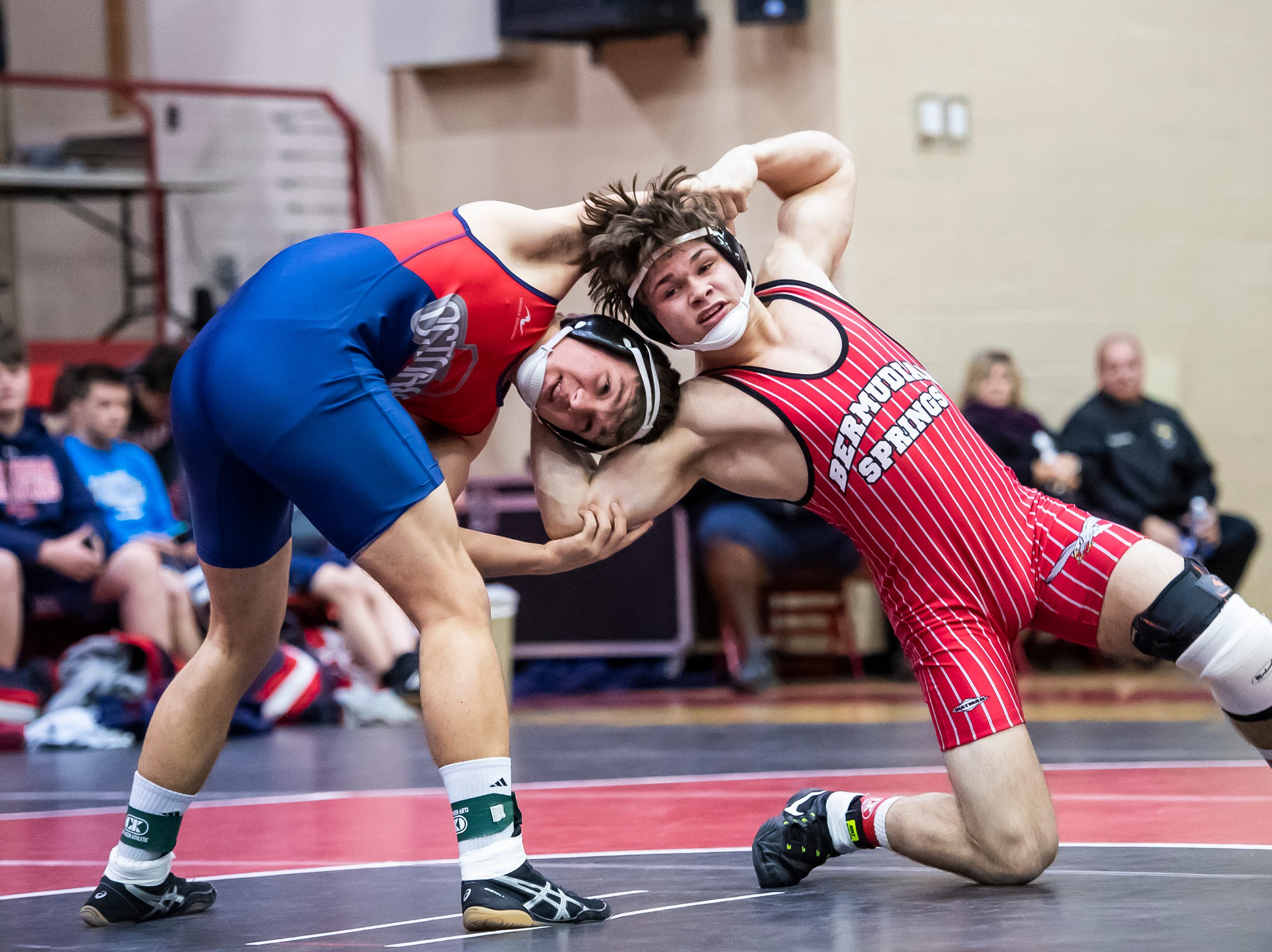 Bermudian Springs' Alijah Wheeler wrestles Octorara's Gavin Camerote in the 170-pound bout during a PIAA District III 2A quarterfinal match at Cumberland Valley High School January 31, 2019. The Eagles beat Octorara 42-23.
