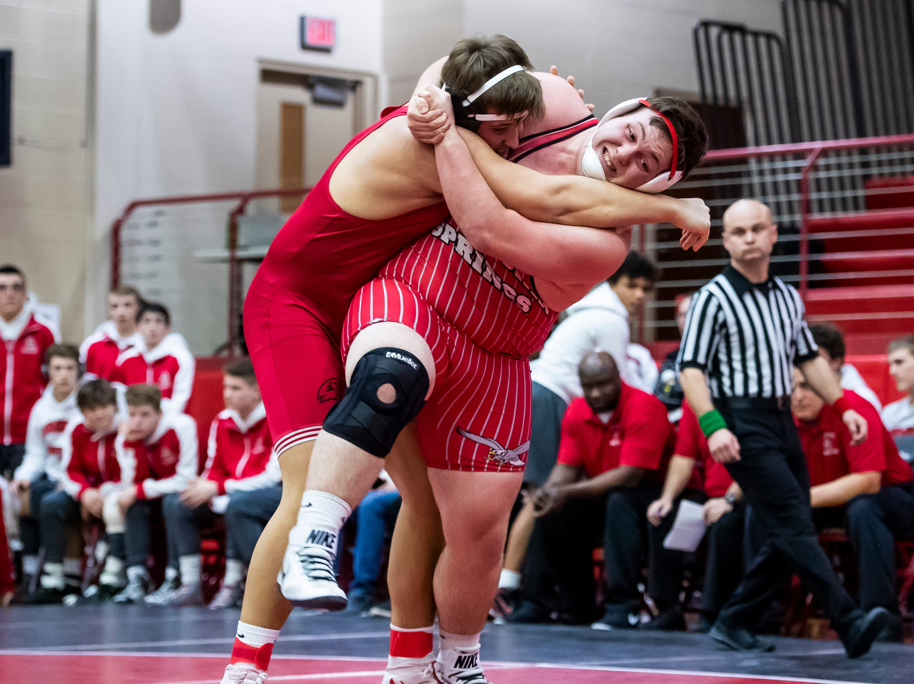 Bermudian Springs' Ryan Lauver, right, wrestles Hamburg's Caleb Foote in a 285-pound bout during a PIAA District III 2A semifinal match at Cumberland Valley High School January 31, 2019. The Eagles fell 43-24.