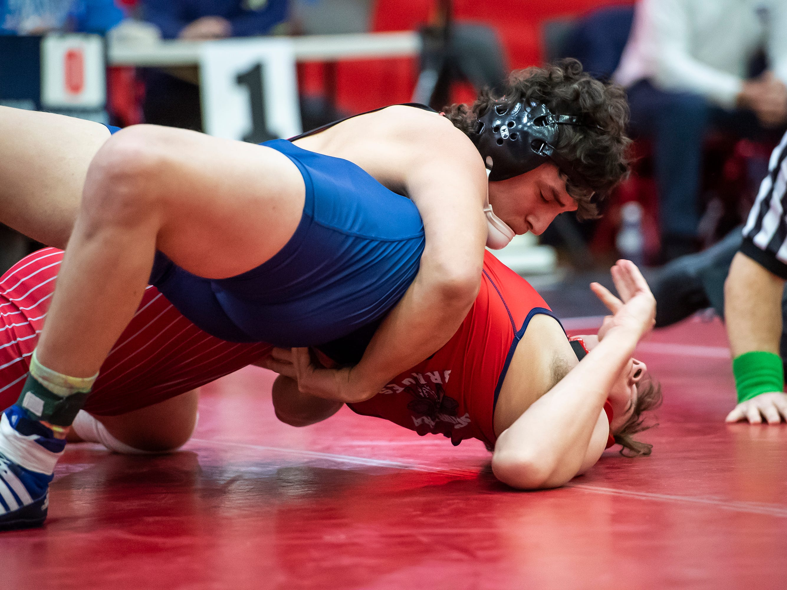 Bermudian Springs' Chase Dull wrestles Octorara's Matt Busby in the 195-pound bout during a PIAA District III 2A quarterfinal match at Cumberland Valley High School January 31, 2019. The Eagles beat Octorara 42-23.