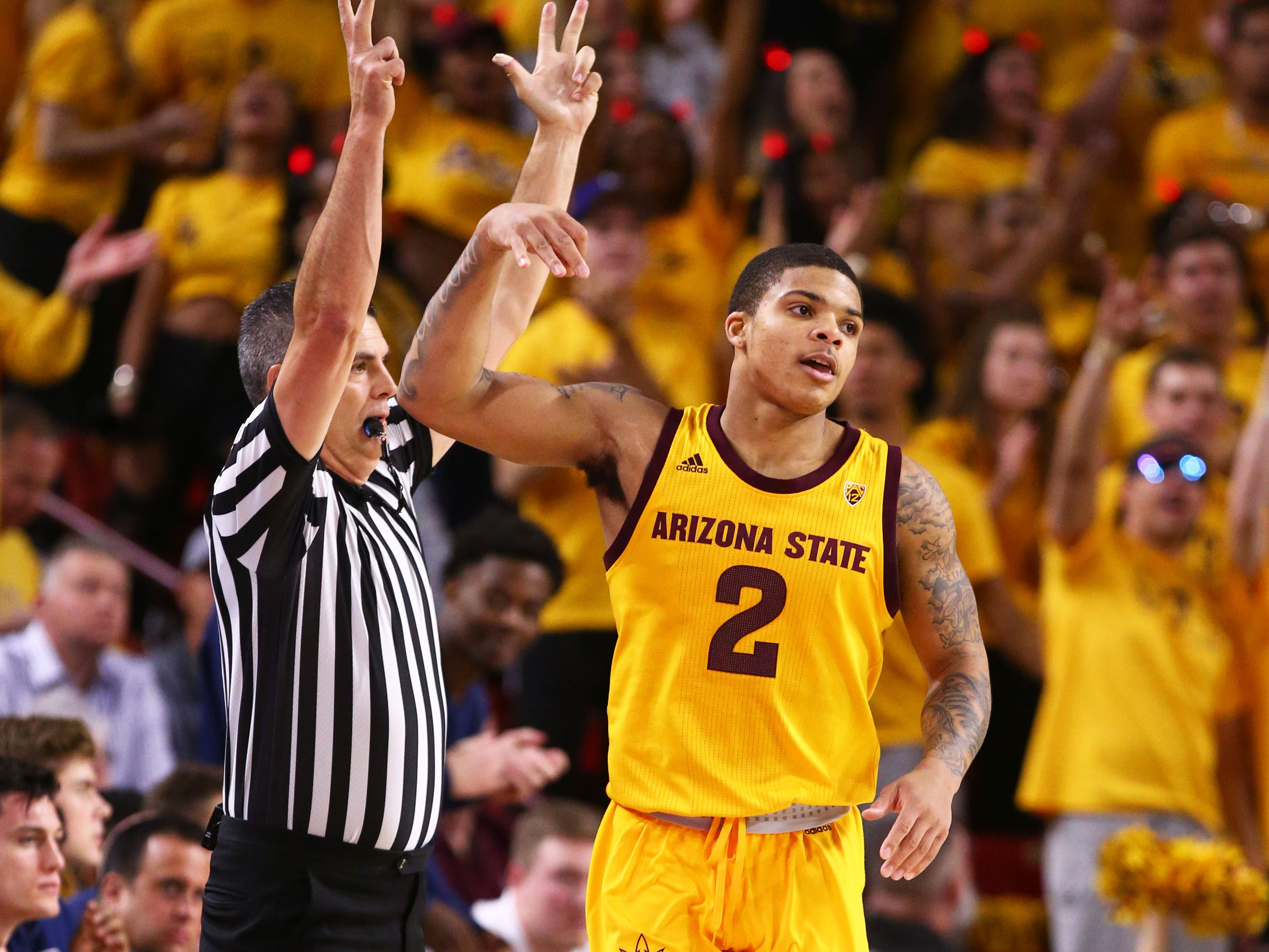 Arizona State guard Rob Edwards reacts after making a 3-pointer against Arizona in the first half on Jan. 31 at Wells Fargo Arena in Tempe.