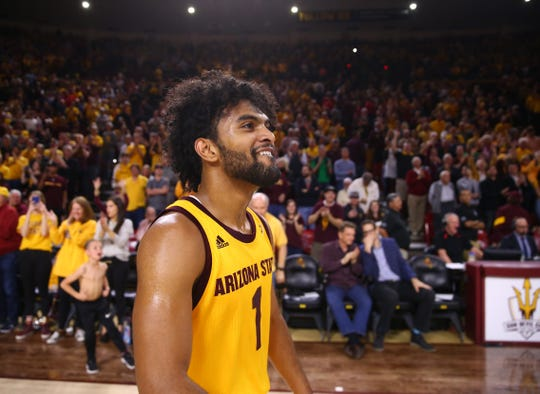 Arizona State Sun Devils guard Remy Martin (1) celebrates after defeating the Arizona Wildcats in overtime at Wells Fargo Arena Jan 31.  Mark J. Rebilas-USA TODAY Sports