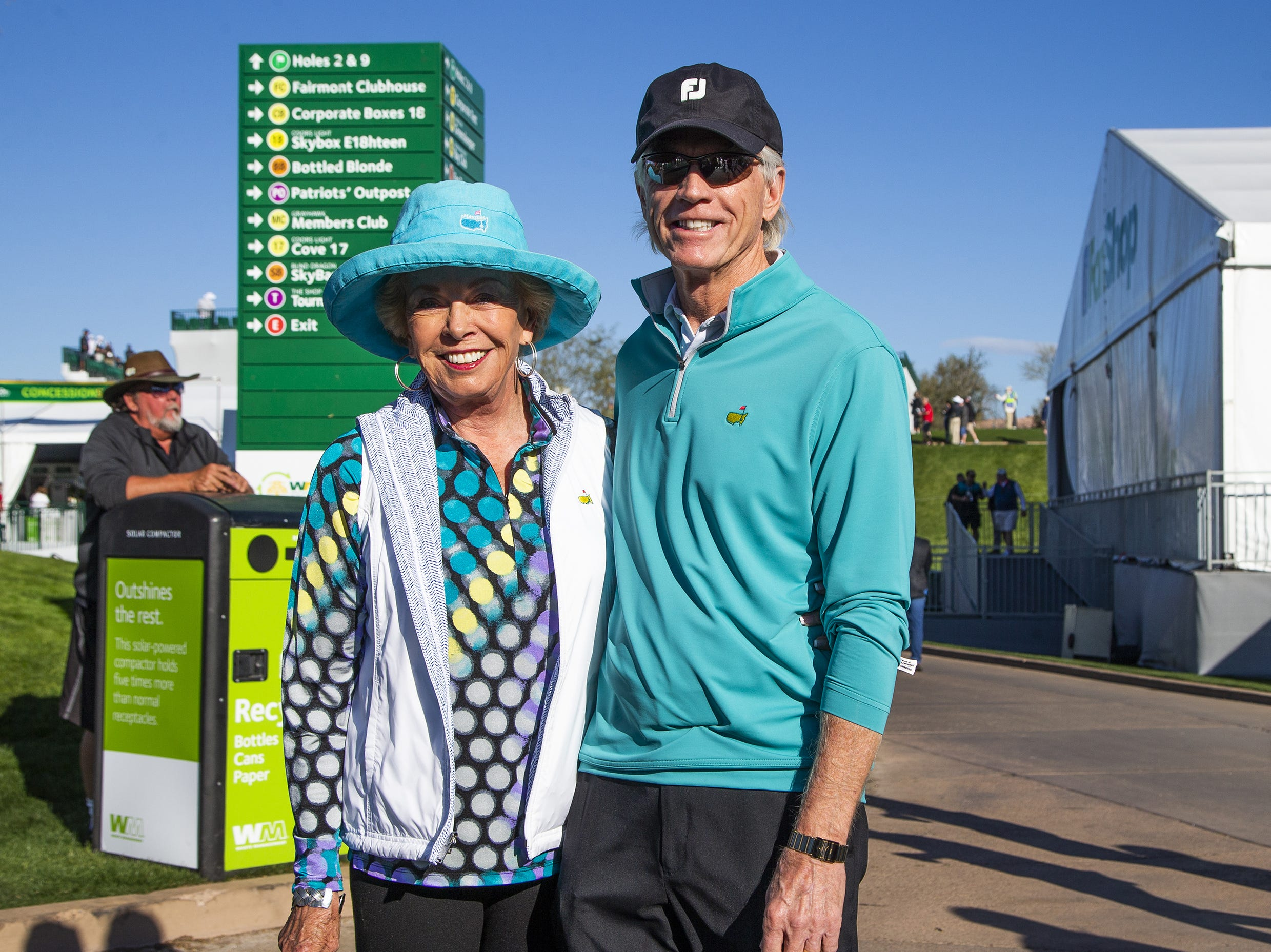 Ruth Fullmer and her husband, R.J., Phoenix, dressed to impress for the second round of the Waste Management Phoenix Open at the TPC Scottsdale, Friday, February 1, 2019.