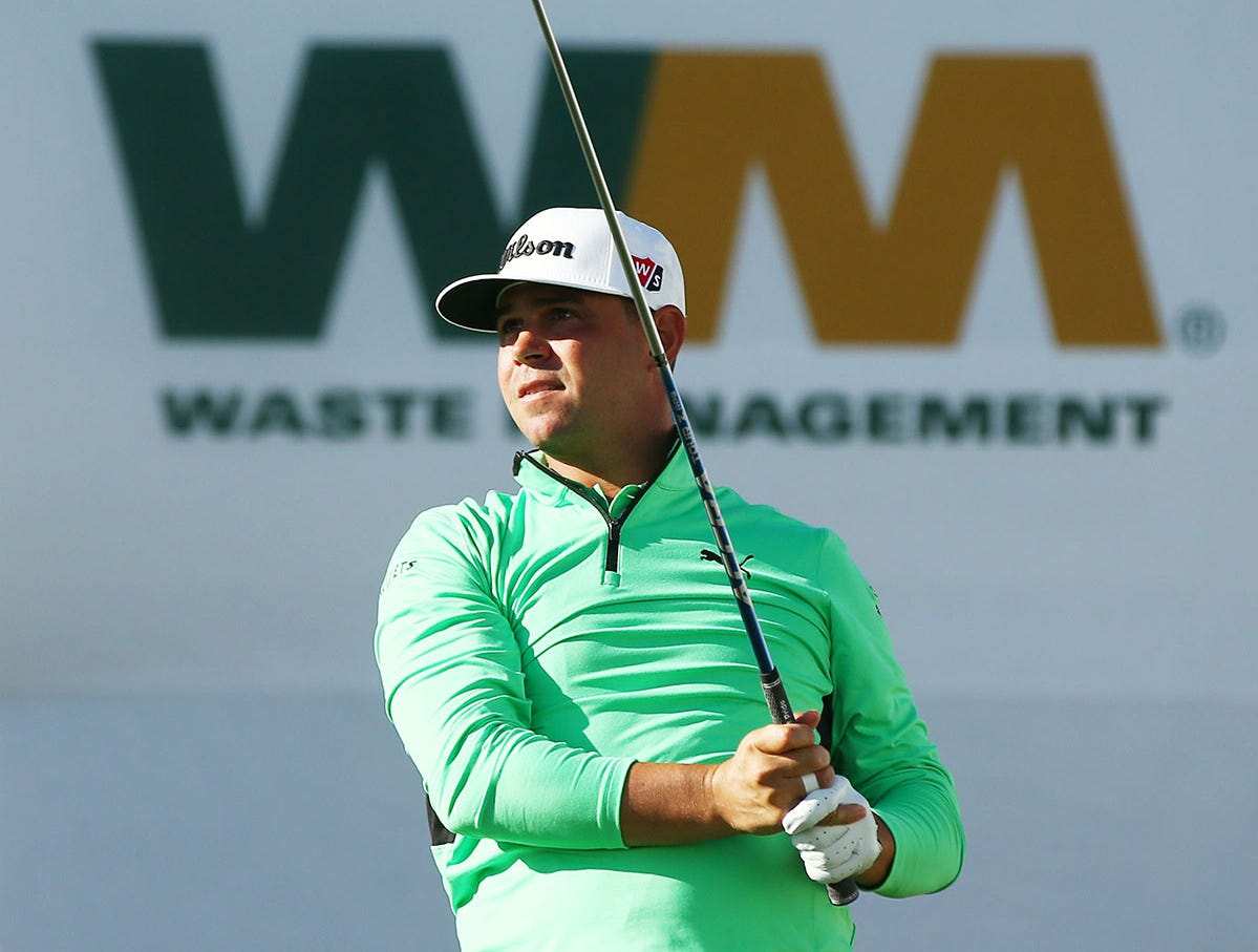 Gary Woodland hit his drive on the 17th hole during second round action on Feb. 1 during the Waste Management Phoenix Open at the TPC Scottsdale Stadium Course.