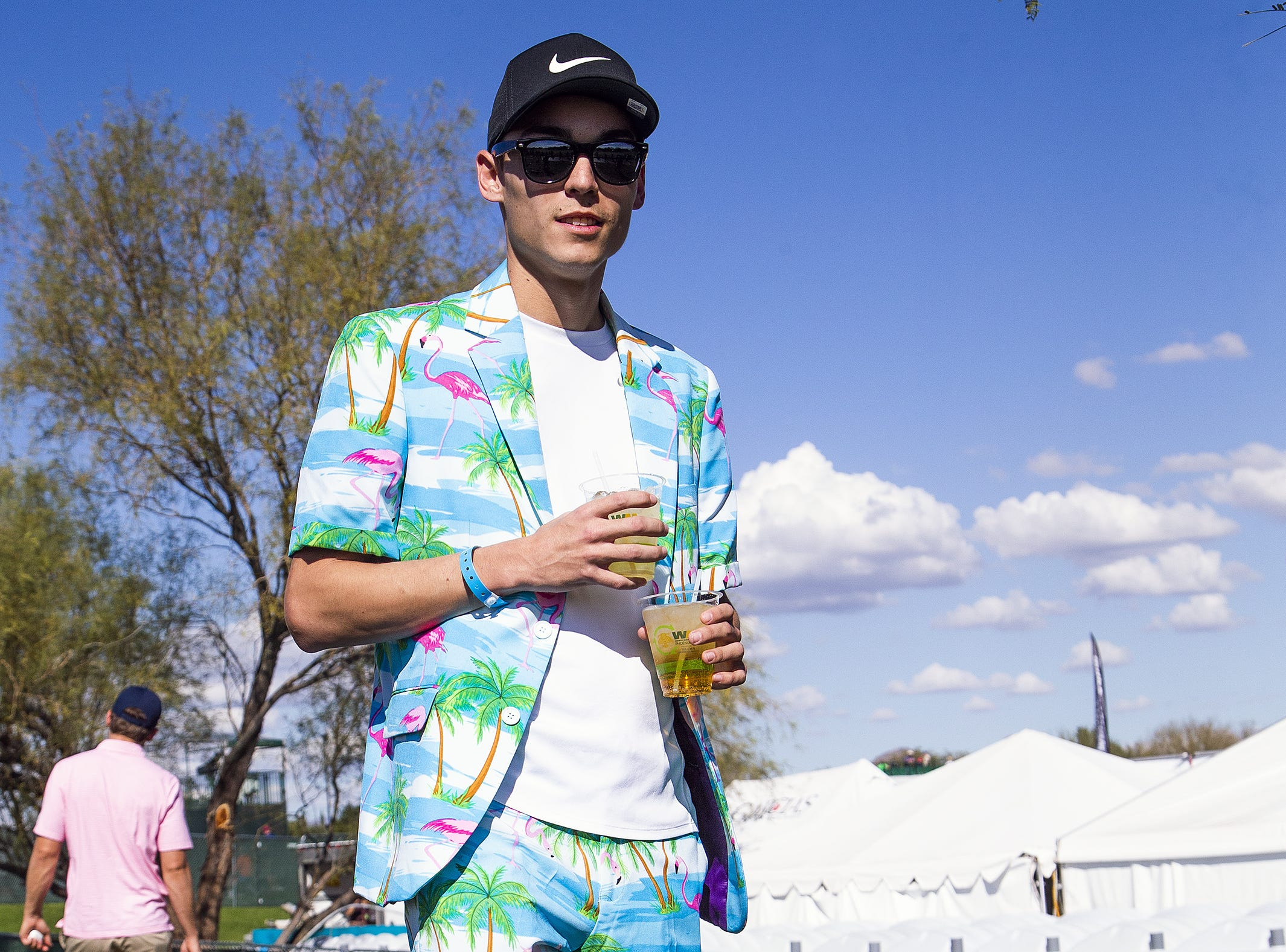 David Stump, 25, Albuquerque, wears his Friday finest during the second round of the Waste Management Phoenix Open at the TPC Scottsdale, February 1, 2019.