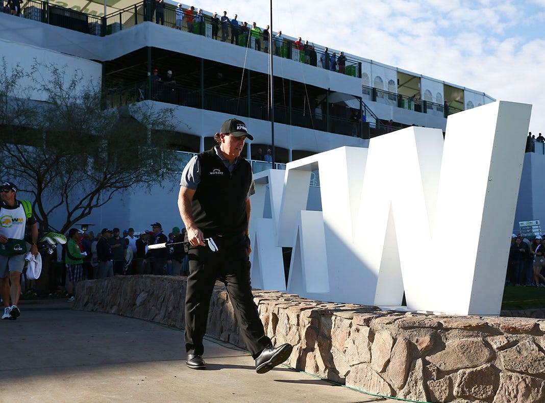 Phil Mickelson walks to the 15th green during second round action on Feb. 1 during the Waste Management Phoenix Open at the TPC Scottsdale Stadium Course.