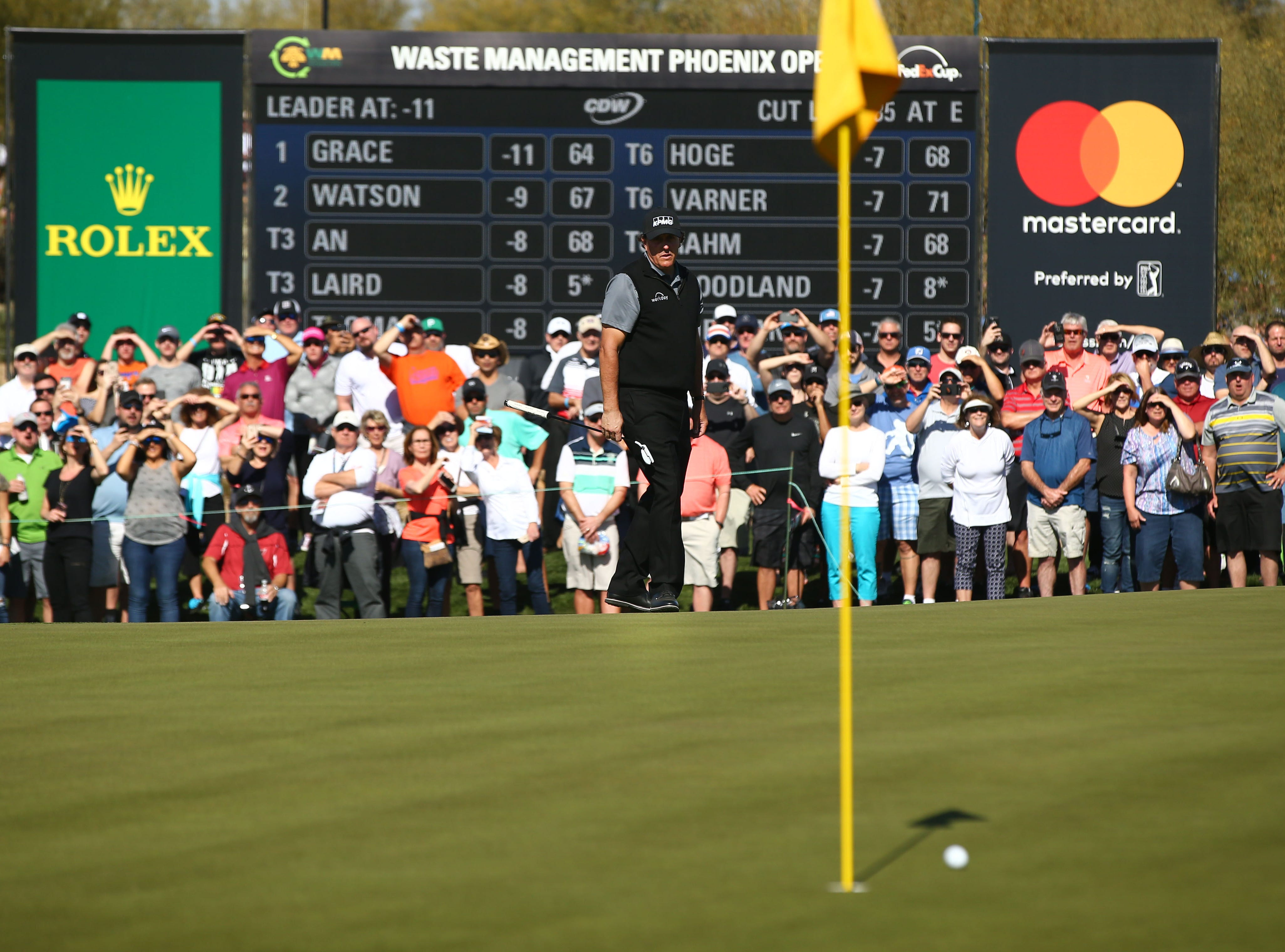 Phil Mickelson saves par on the 9th hole during second round action on Feb. 1 during the Waste Management Phoenix Open at the TPC Scottsdale Stadium Course.