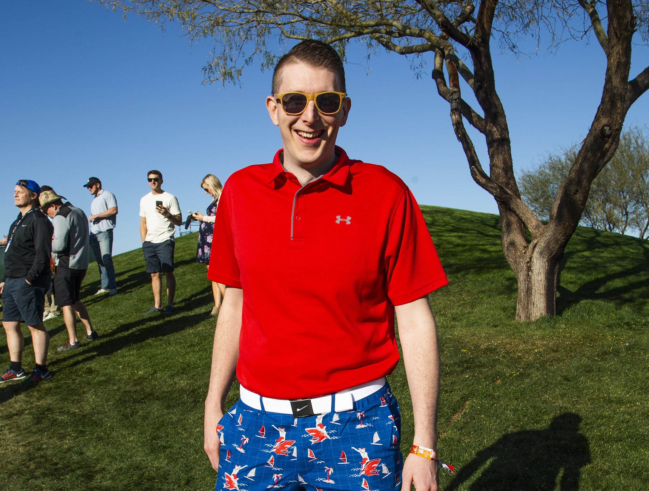 Ryan Little, 35, Mesa, wears his shark pants during the second round of the Waste Management Phoenix Open at the TPC Scottsdale, Friday, February 1, 2019.