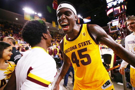 Arizona State forward Zylan Cheatham celebrate their overtime win against Arizona on Jan. 31 at Wells Fargo Arena in Tempe.