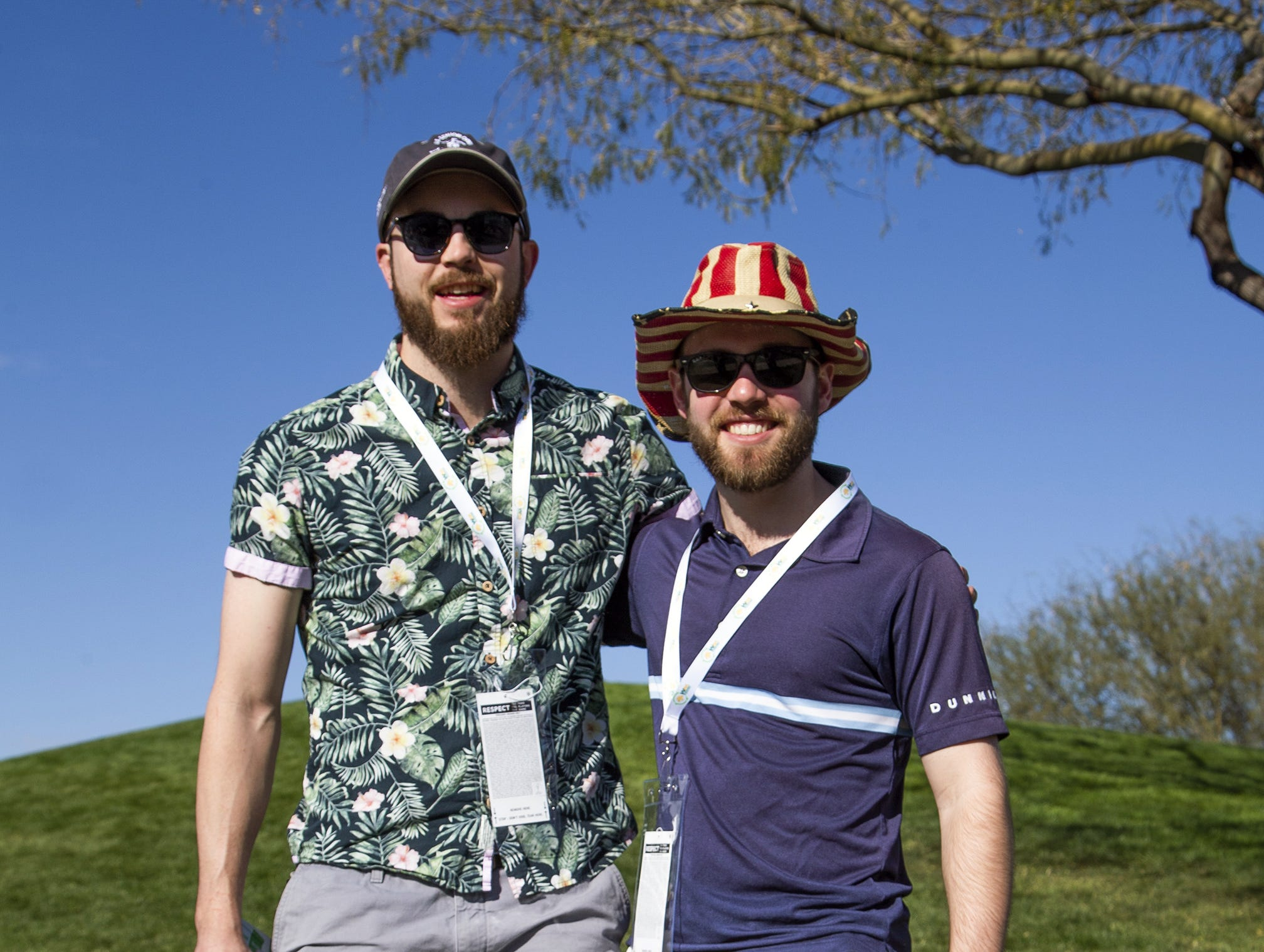 Friends Grant Brown, 26, left, Scottsdale and Ty Frost, 26, Chicago, dressed up for the second round of the Waste Management Phoenix Open at the TPC Scottsdale, Friday, February 1, 2019.