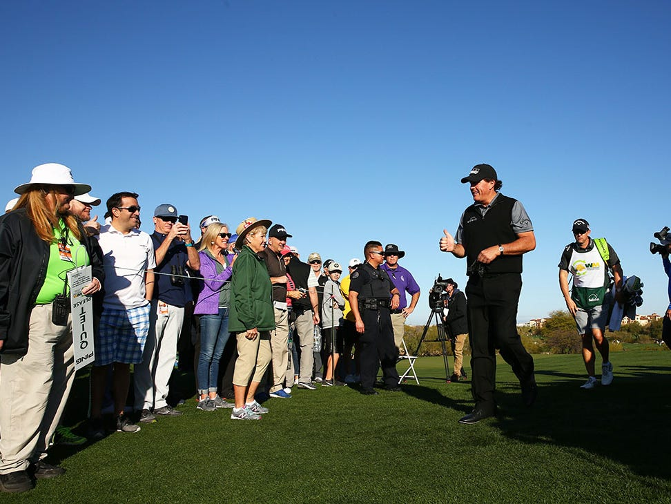 Phil Mickelson walks to the 15th tee box during second round action on Feb. 1 during the Waste Management Phoenix Open at the TPC Scottsdale Stadium Course.