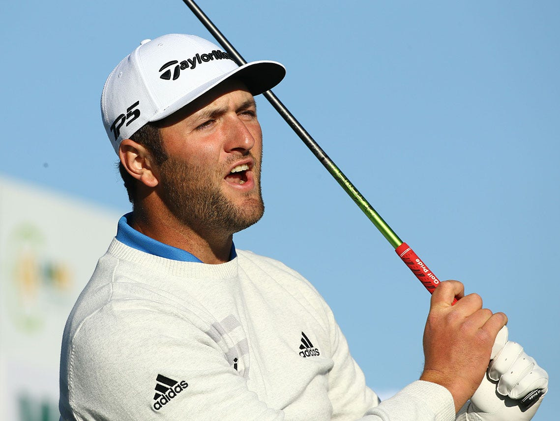 "Jon Rahm yells ""four right"" on the 15th tee box during second round action on Feb. 1 during the Waste Management Phoenix Open at the TPC Scottsdale Stadium Course."