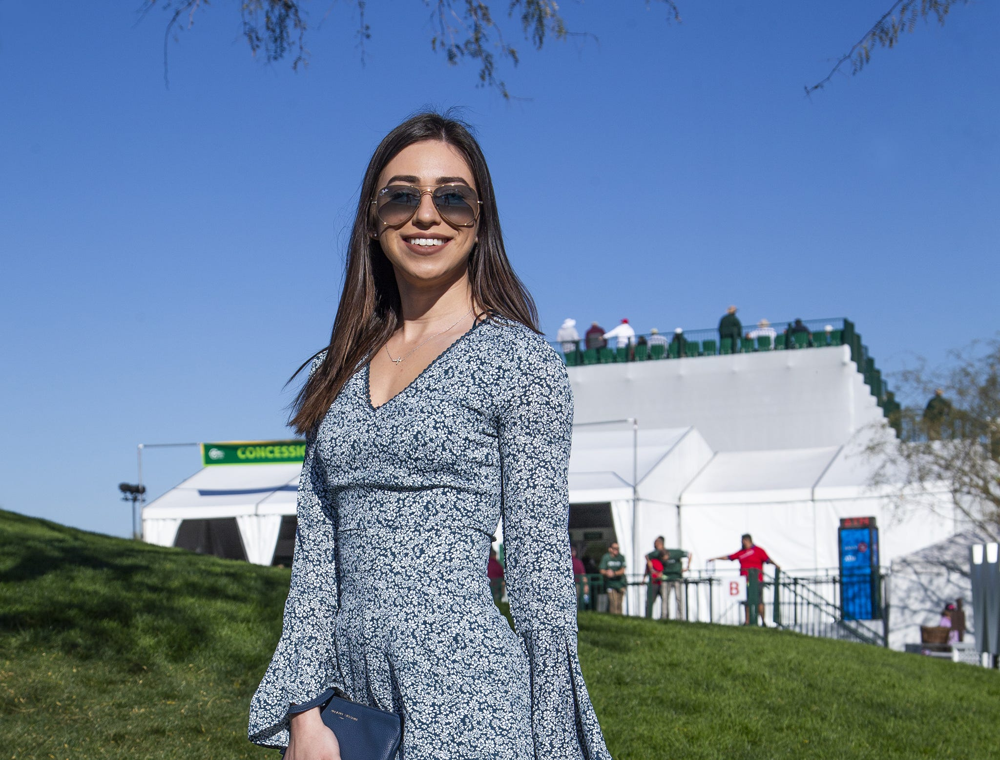 Katrina Cross, 23, Scottsdale, dressed up for the second round of the Waste Management Phoenix Open at the TPC Scottsdale, Friday, February 1, 2019.