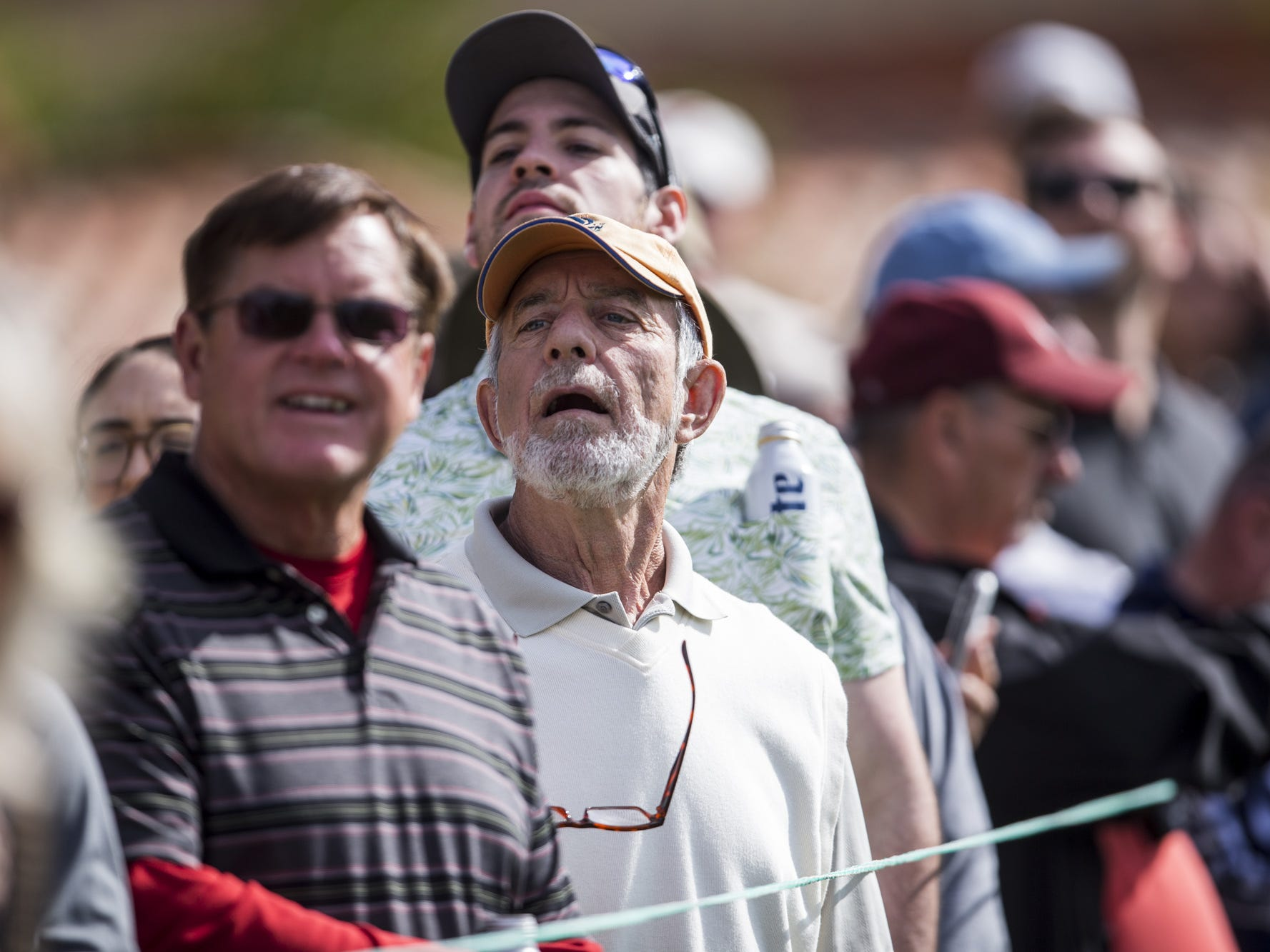 Fans watch at the 1st hole during the Waste Management Phoenix Open on Thursday, Jan. 31, 2019, at TPC Scottsdale in Scottsdale, Ariz.