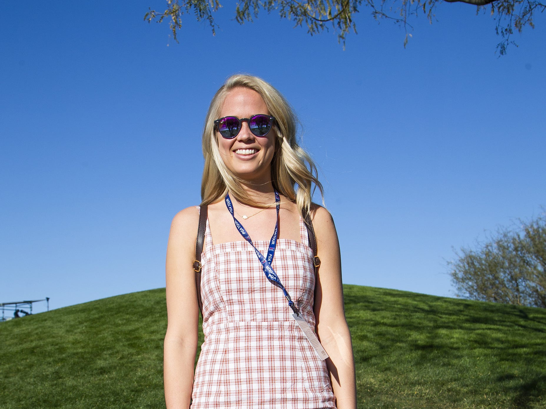 Becca Martin, 24, Cincinnati, dresses fine for the second round of the Waste Management Phoenix Open at the TPC Scottsdale, Friday, February 1, 2019.
