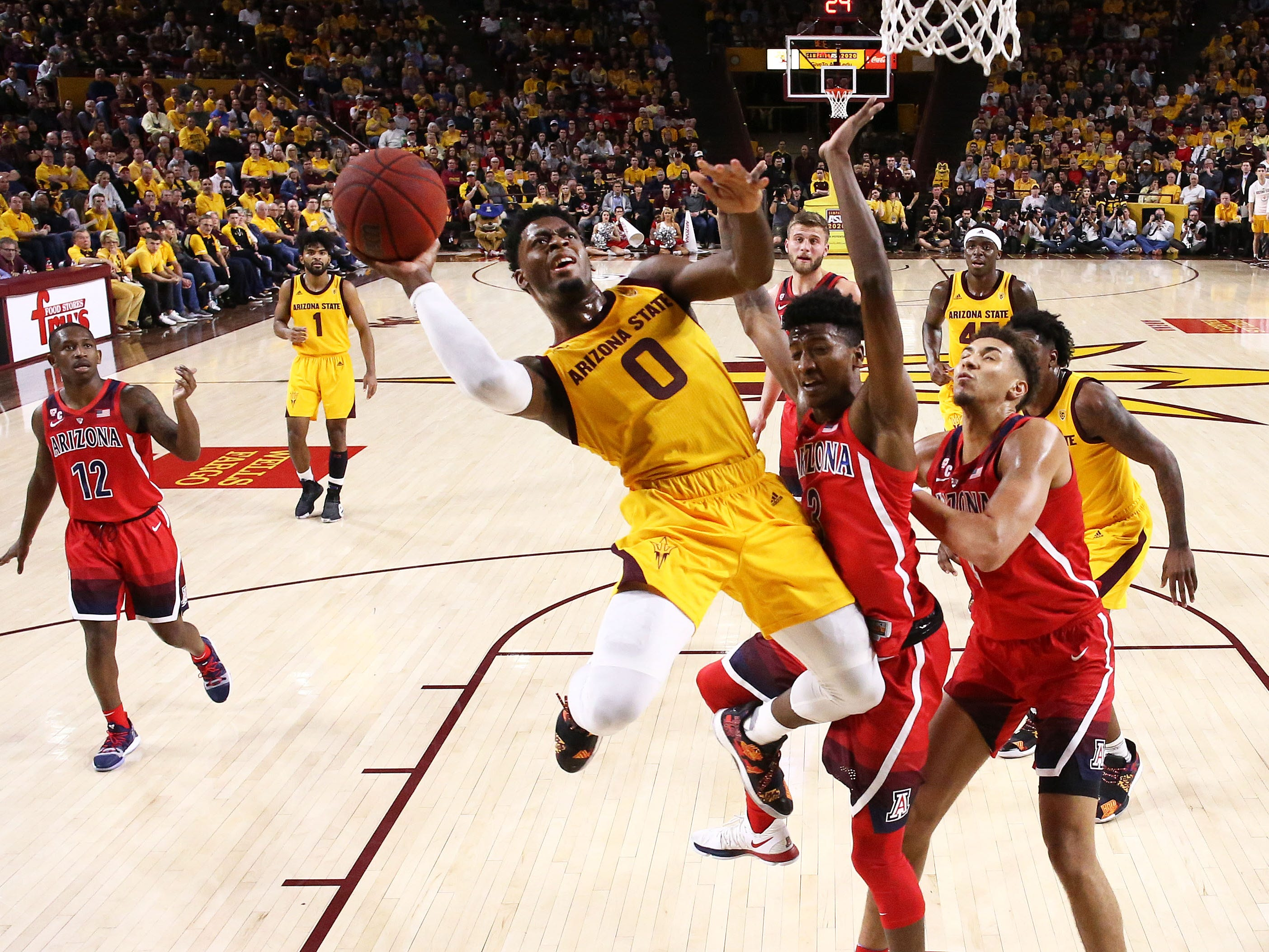 Arizona State guard Luguentz Dort looks to the basket against Arizona on Jan. 31 at Wells Fargo Arena in Tempe.
