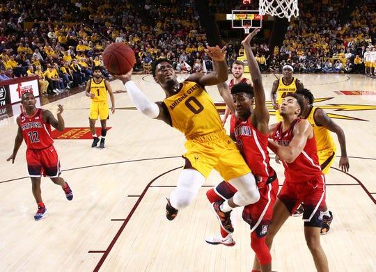 Arizona State guard Luguentz Dort looks to the basket against Arizona on Jan. 31 at Wells Fargo Arena in Tempe.