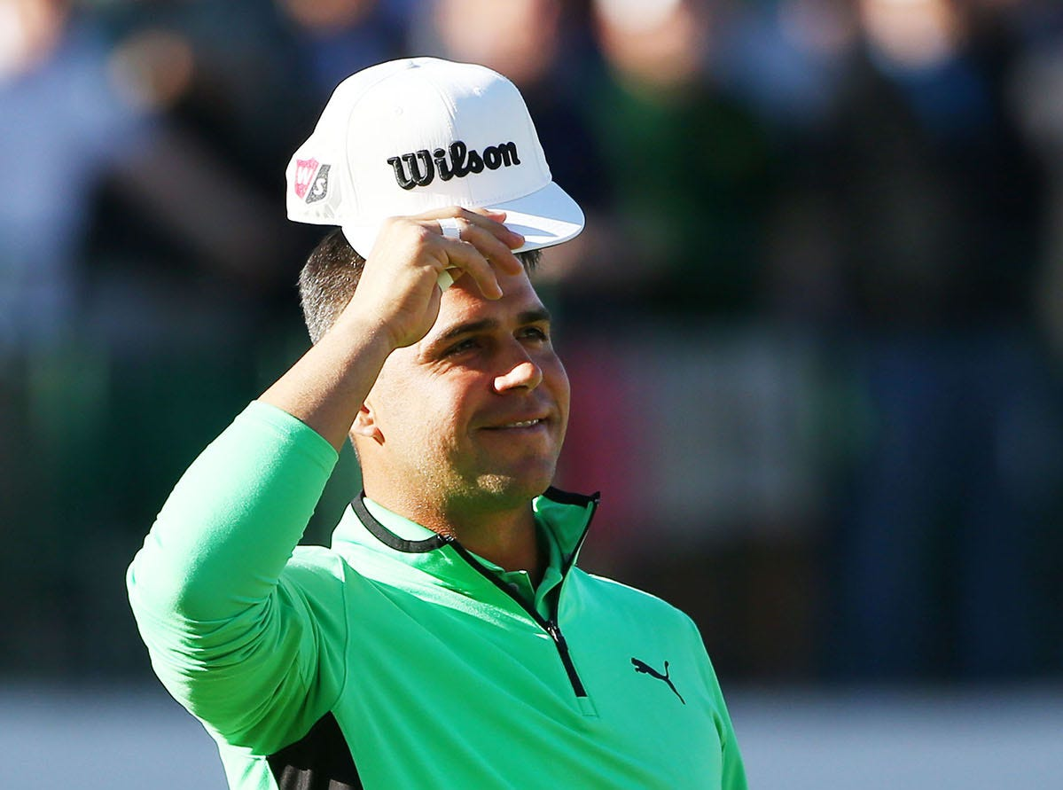 Gary Woodland tips his cap to the crowd on the 16th hole during second round action on Feb. 1 during the Waste Management Phoenix Open at the TPC Scottsdale Stadium Course.