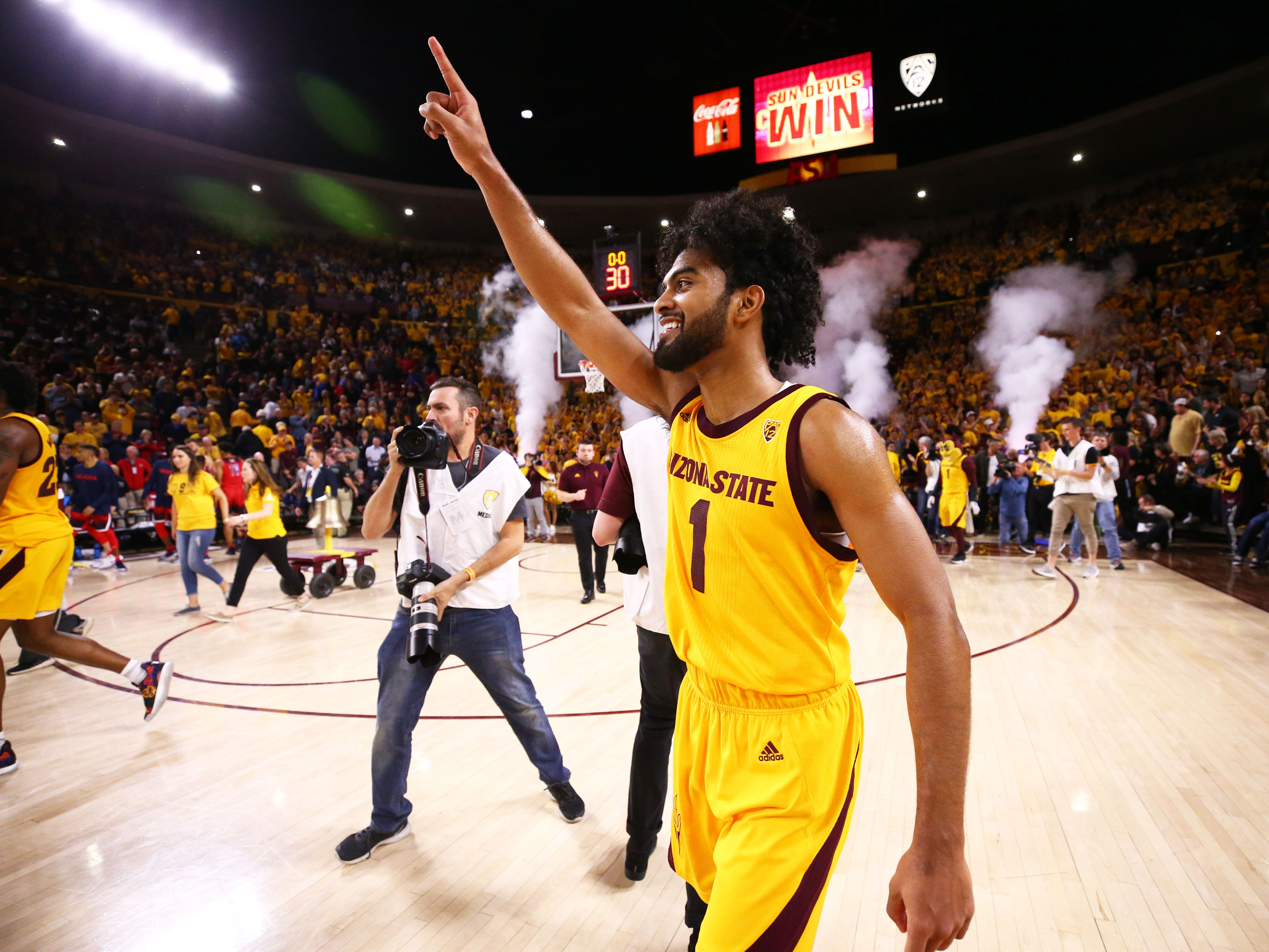 Arizona State guard Remy Martin celebrates their overtime win against Arizona on Jan. 31 at Wells Fargo Arena in Tempe.