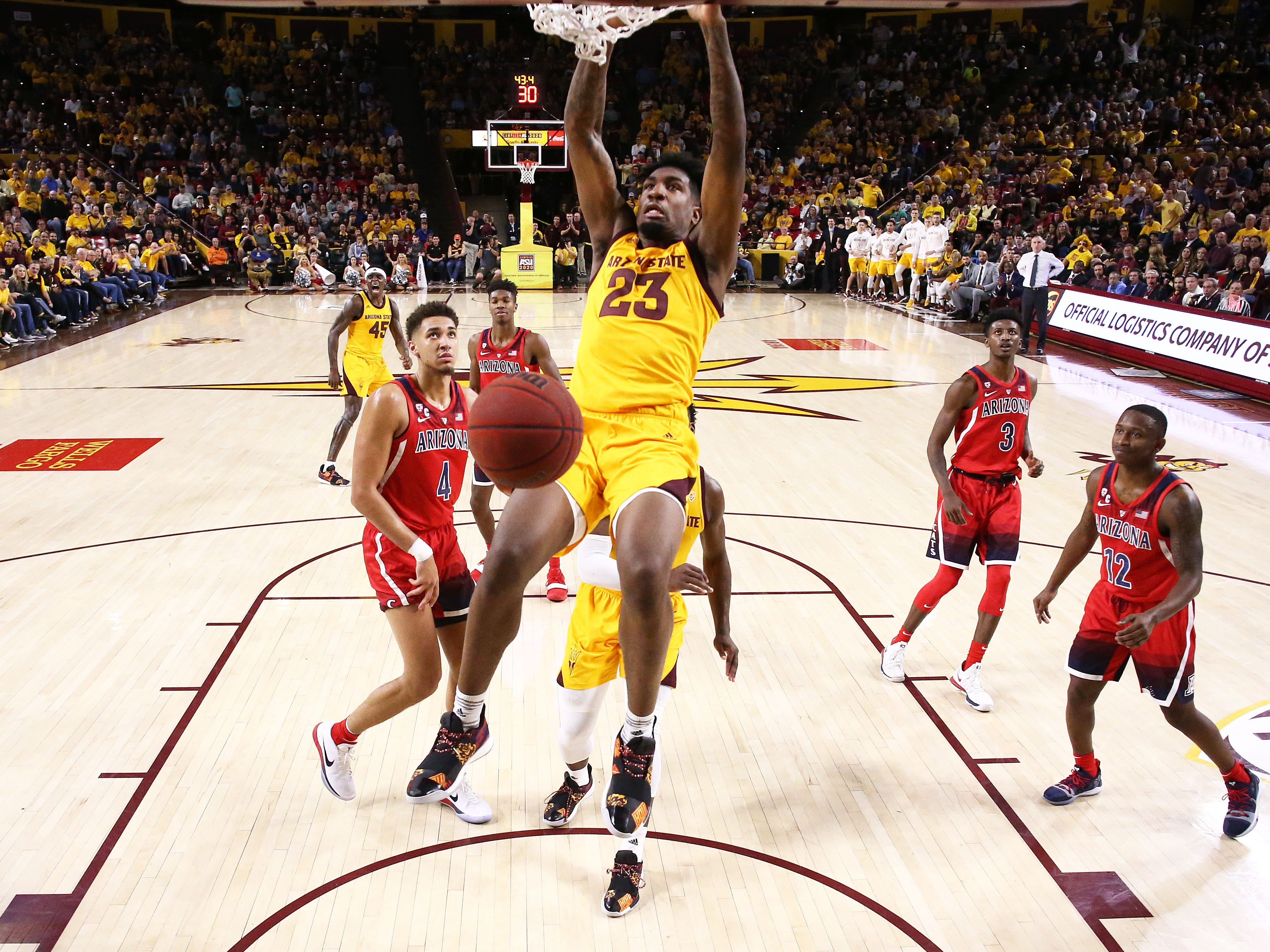 Arizona State forward Romello White slam-dunks the ball against Arizona on Jan. 31 at Wells Fargo Arena in Tempe.