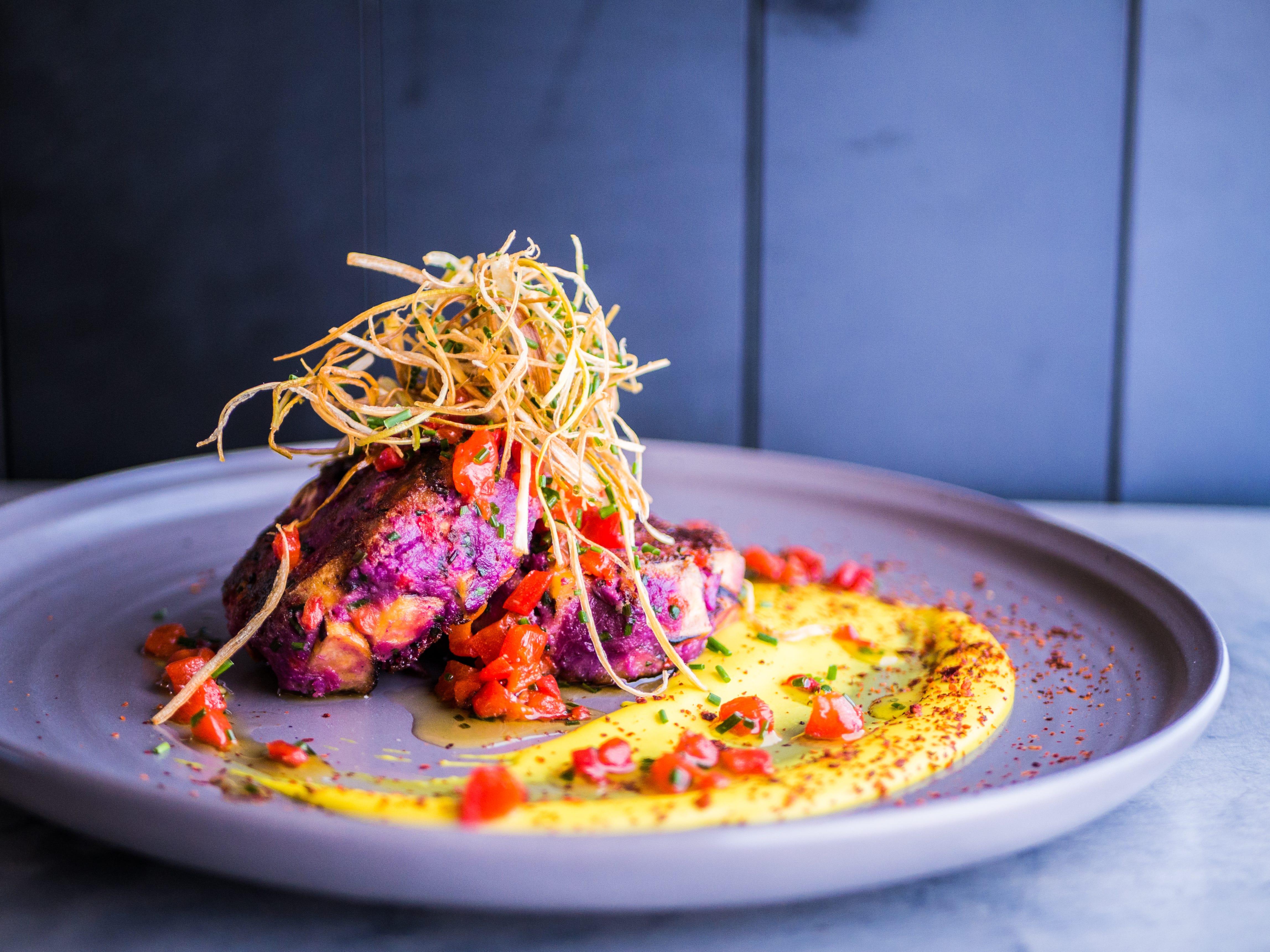 Purple sweet potatoes with crisped leeks and coconut fufu at Casa Terra.