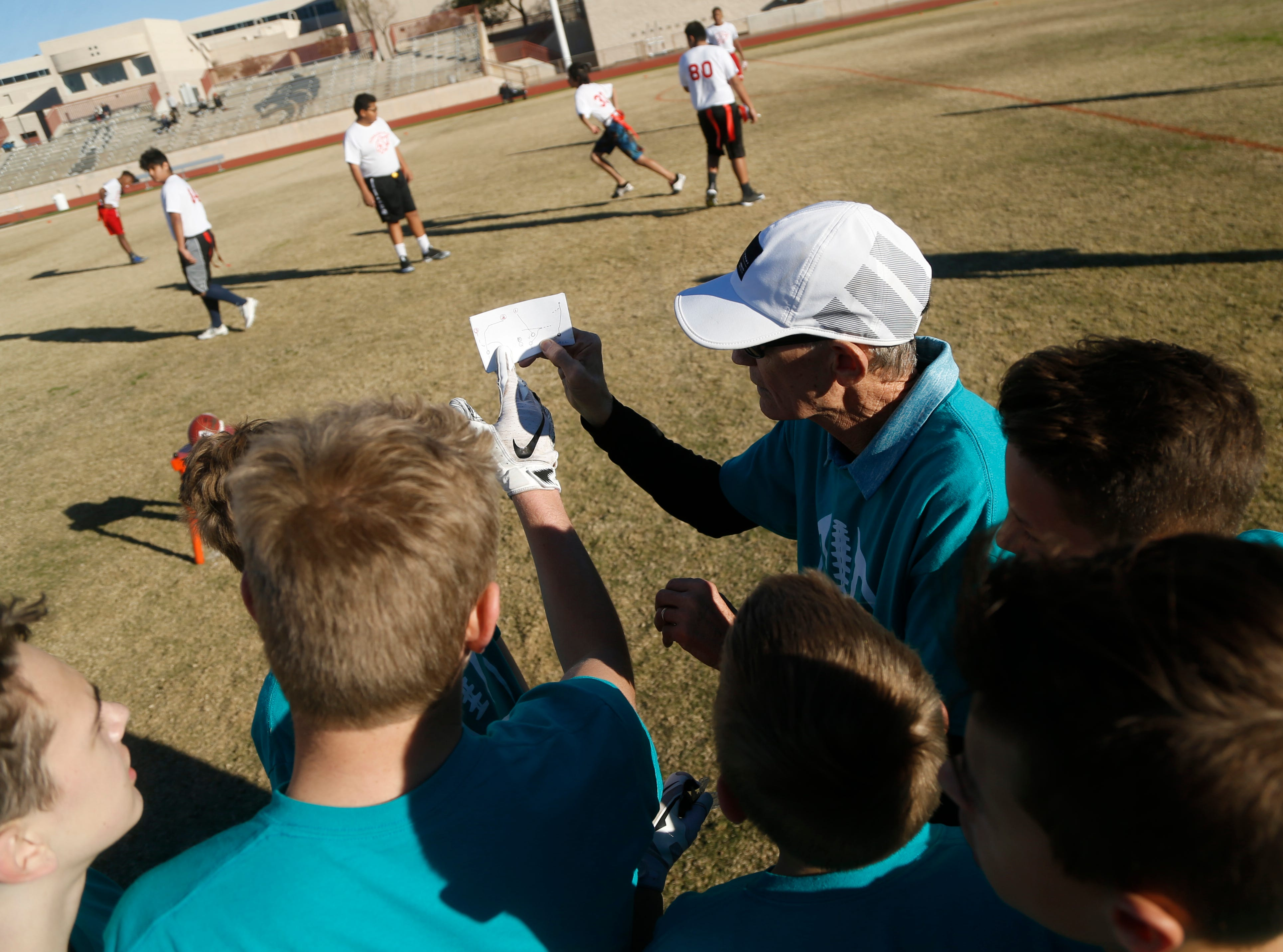 Jim Rattay, who is two wins away from being Arizona's all-time winningest coach, coaches Copper Ridge Elementary's co-ed flag football team during a flag football game at Desert Mountain High School in Scottsdale, Ariz. on January 26, 2019.
