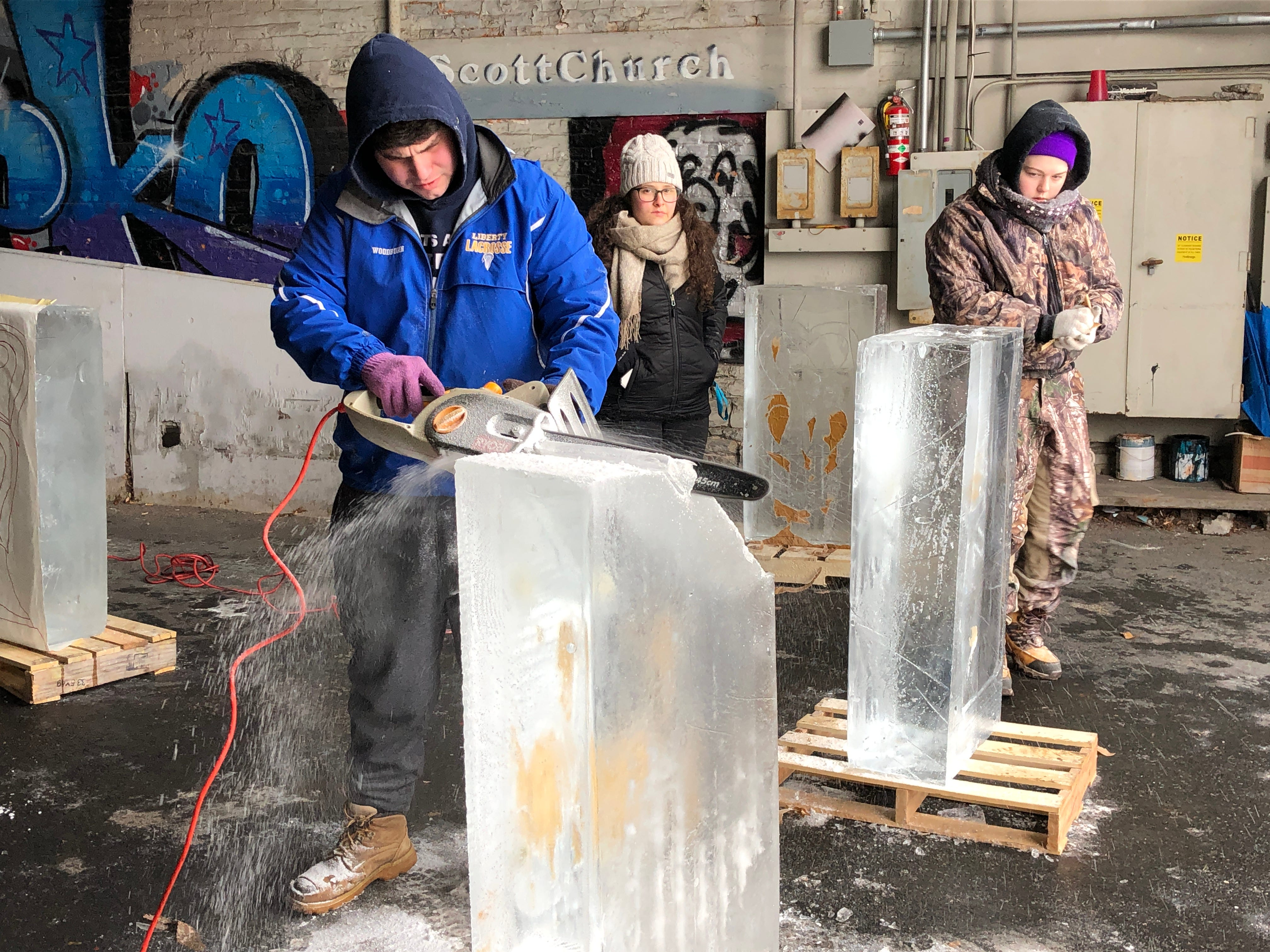 LCCTC culinary apprentices dig into some fresh blocks of ice.
