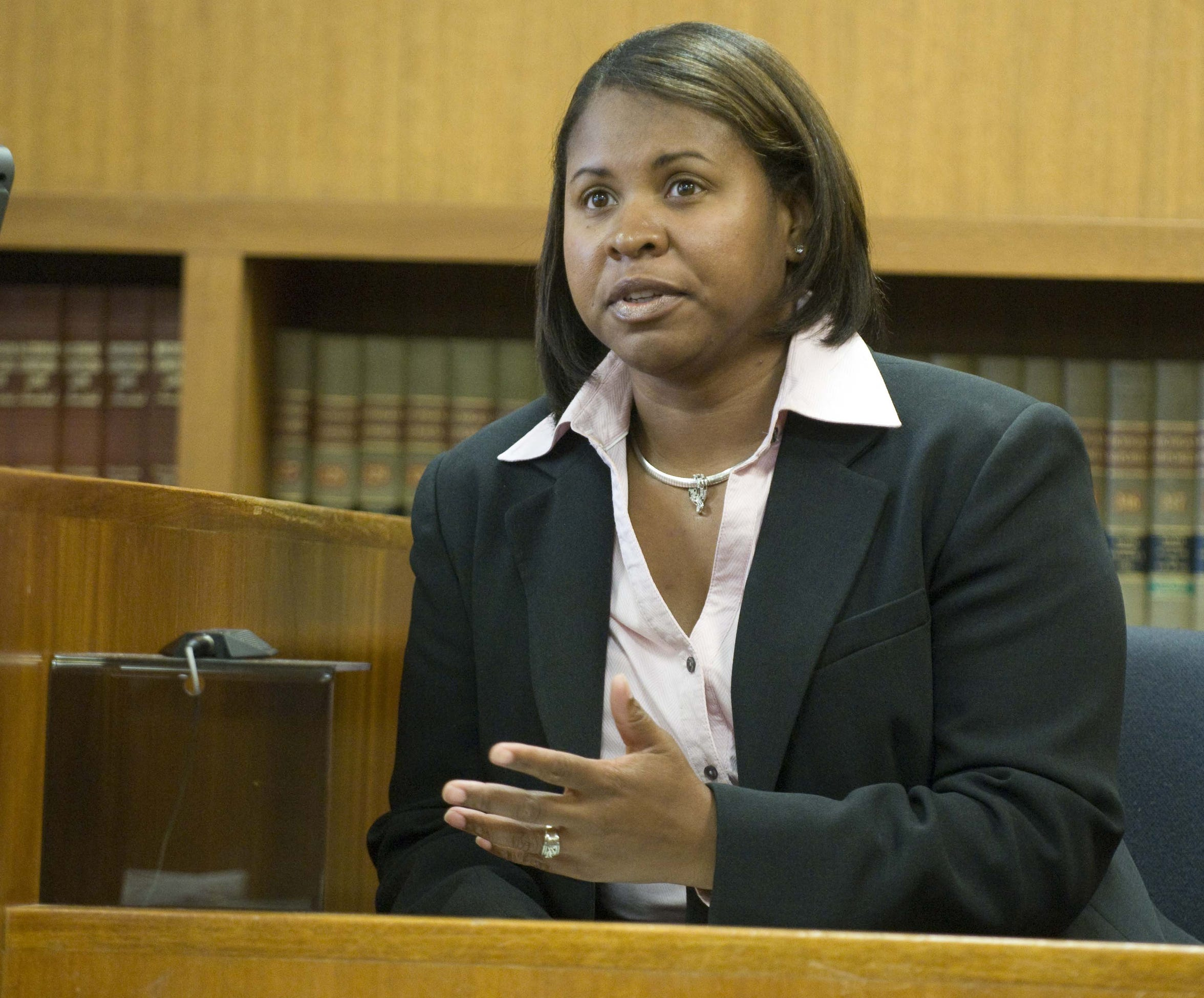 Sgt. Karen Brisby, then a detective, testifies in court in 2010. Brisby became a cadet in 1988, joining Port Huron's police department in 1991.