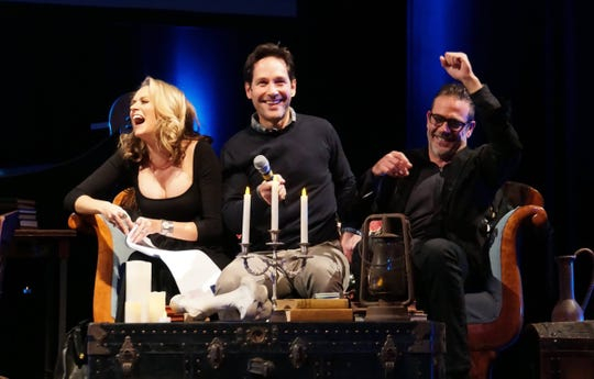 """Hilarie Burton, Paul Rudd and Jeffrey Dean Morgan enjoy a laugh in the midst of spooky stories during a past """"Ghost Stories"""" fundraiser."""