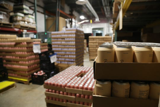 Cans of Recess in storage after pasteurization during a production run at Drink More Good's production facility in East Fishkill on January 31, 2019.