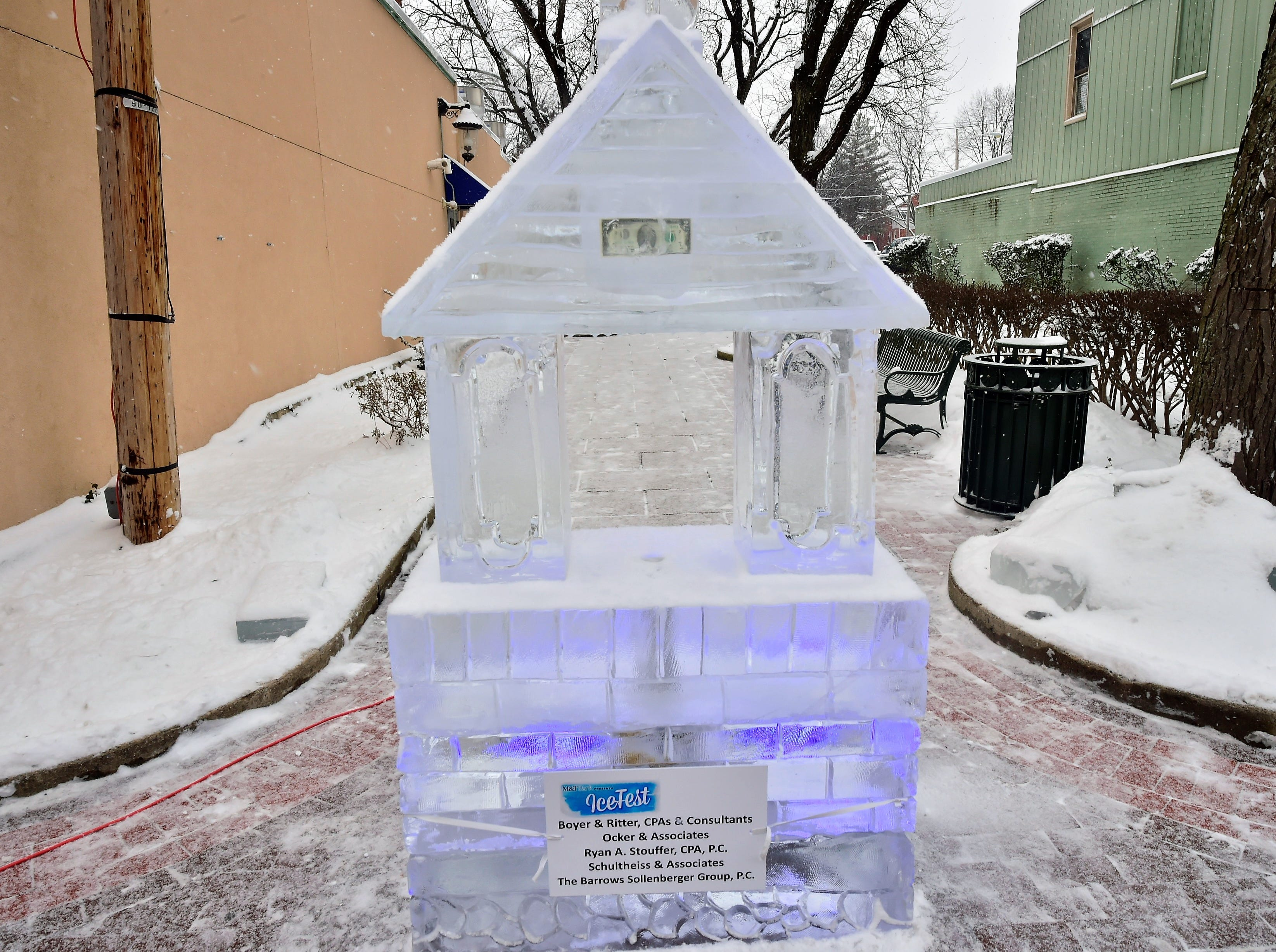 A $2 bill is frozen inside the top of this ice sculpture. DiMartino Ice Company carved around 80 ice sculptures for IceFest 2019 in Chambersburg. Here is a small fraction of them. All of the sculptures pictured in this gallery are located on South Main Street between the square and Washington Street.