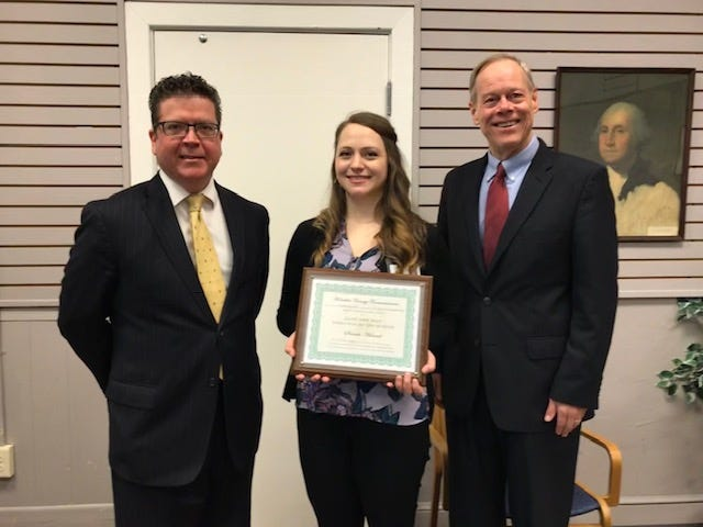 From left to right: Franklin County Commissioner Dave Keller, January employee of the month, Sarah Hamel, and Commissioner Bob Ziobrowski.