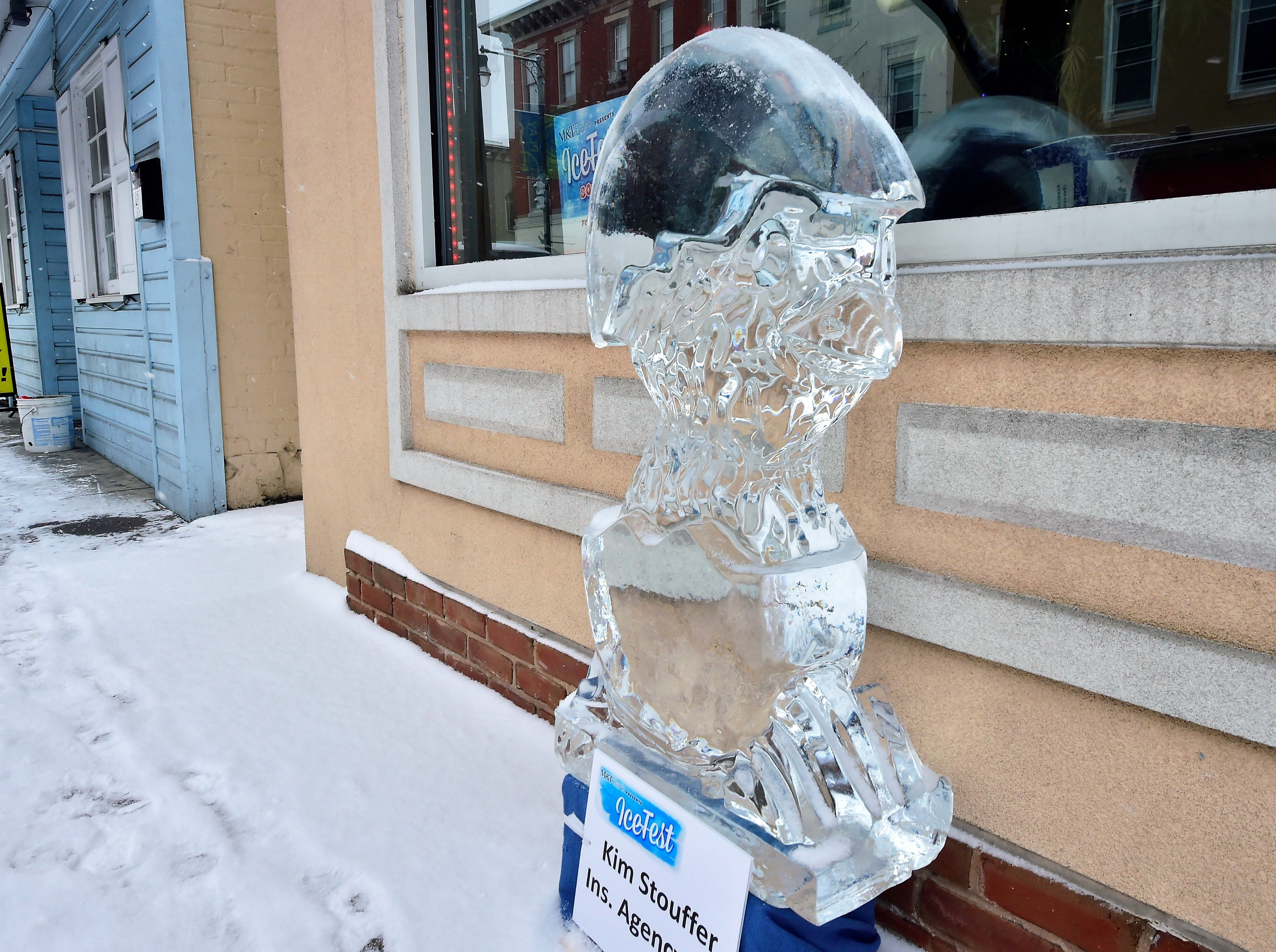 This ice sculpture depicts a chick hatching from an egg.  DiMartino Ice Company carved around 80 ice sculptures for IceFest 2019 in Chambersburg. Here is a small fraction of them. All of the sculptures pictured in this gallery are located on South Main Street between the square and Washington Street.