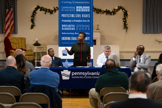 "Sandra Thompson, president of the York Chapter of the NAACP, speaks during the third ""No Hate in Our State"" Town Hall meeting at the Hellam Fire Company on Jan. 31."
