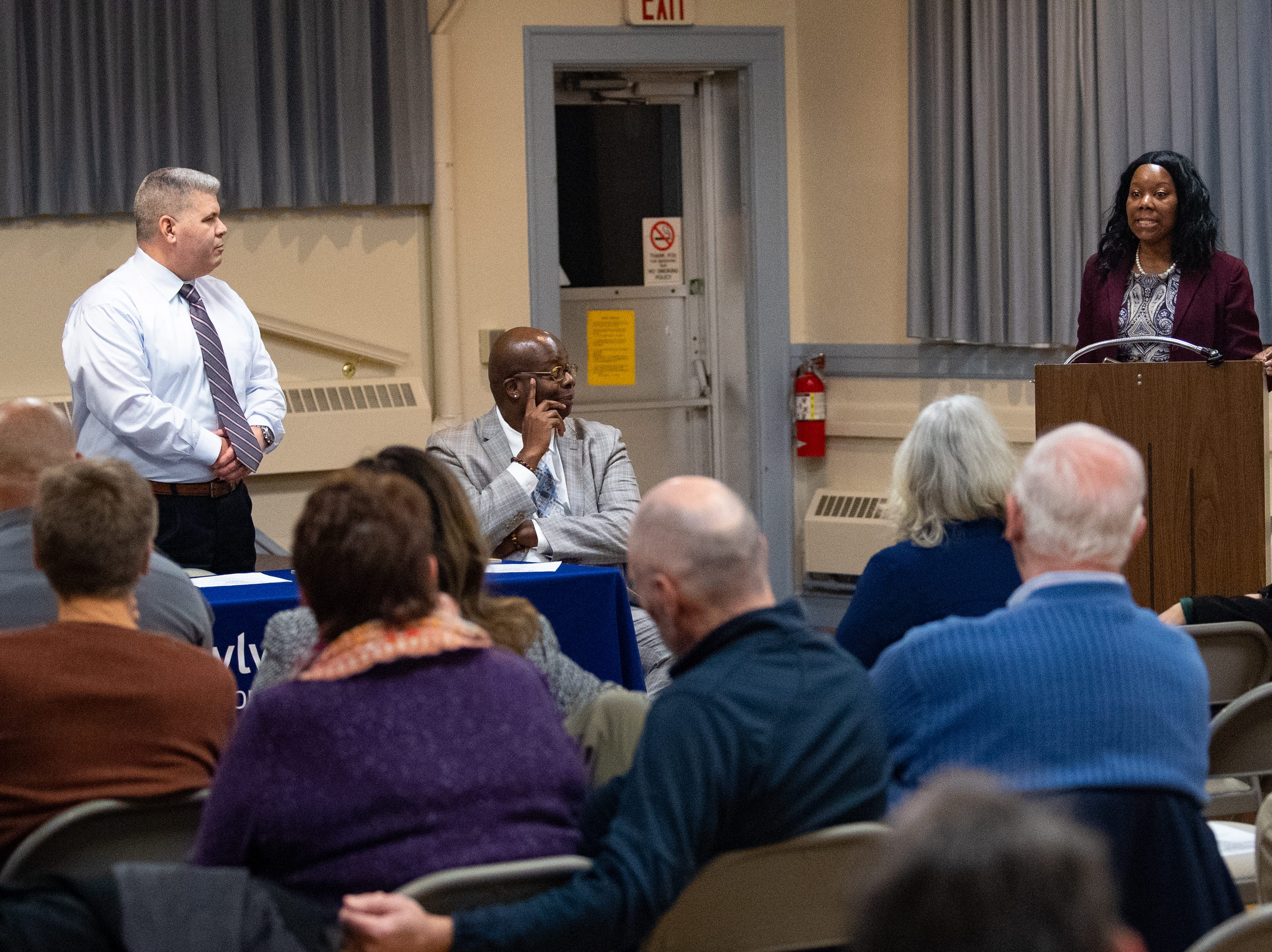 "Tameka Hatcher and Chief James Pollock discuss what steps the Hellam Police Department is taking to combat racism during the third ""No Hate in Our State"" Town Hall meeting, January 31, 2019."