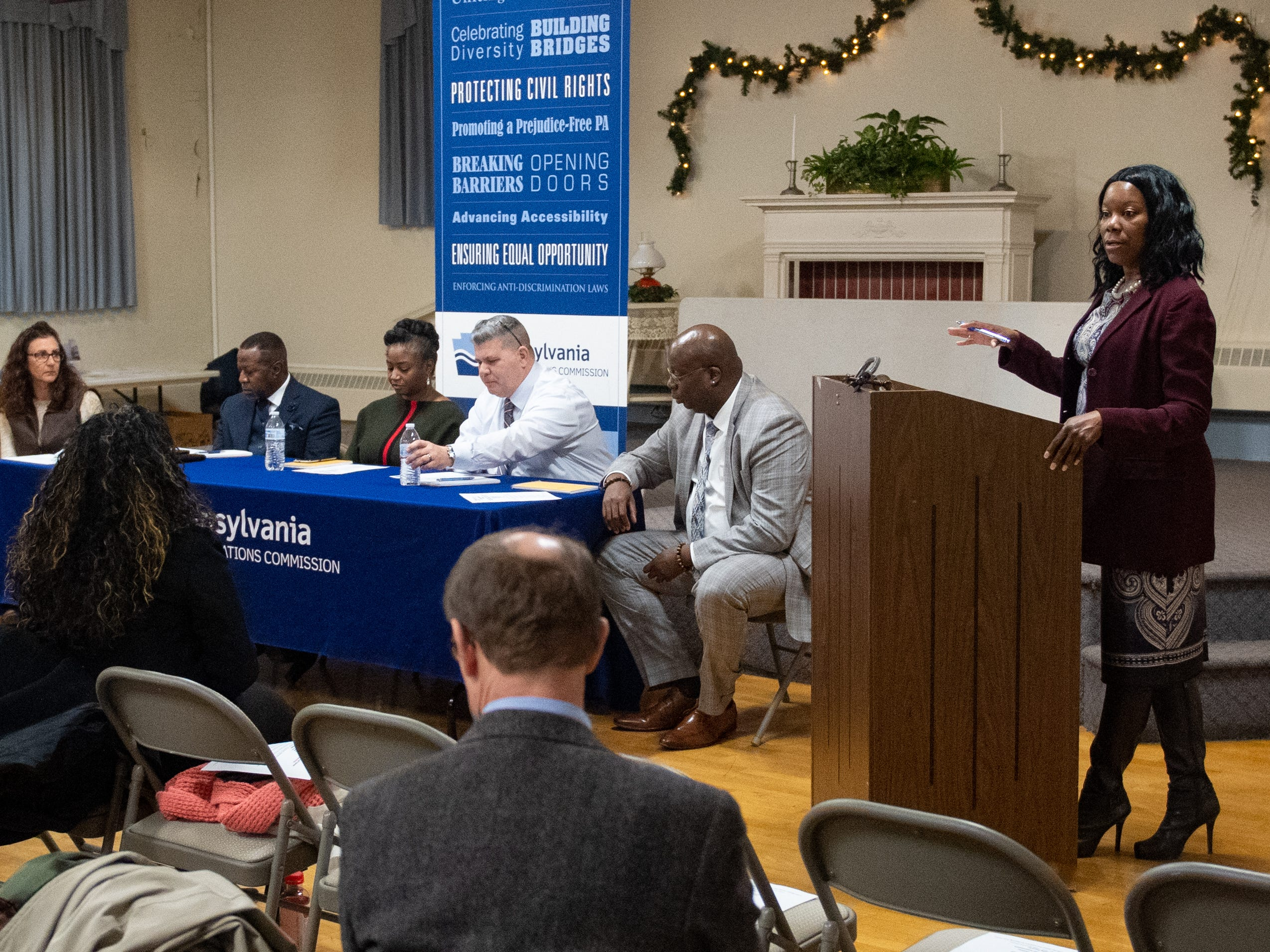 "(Left to right) Lynn Sharp, Reverend Dr. Melvin Baber, Sandra Thompson, Chief James Pollock, Chad Dion Lassiter, and Tameka Hatcher are the guest speakers at tonight's ""No Hate in Our State"" Town Hall meeting at the Hellam Fire Company, January 31, 2019."