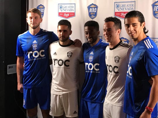 Reno 1868 FC soccer players wear the new kits Thursday night at Greater Nevada Field.