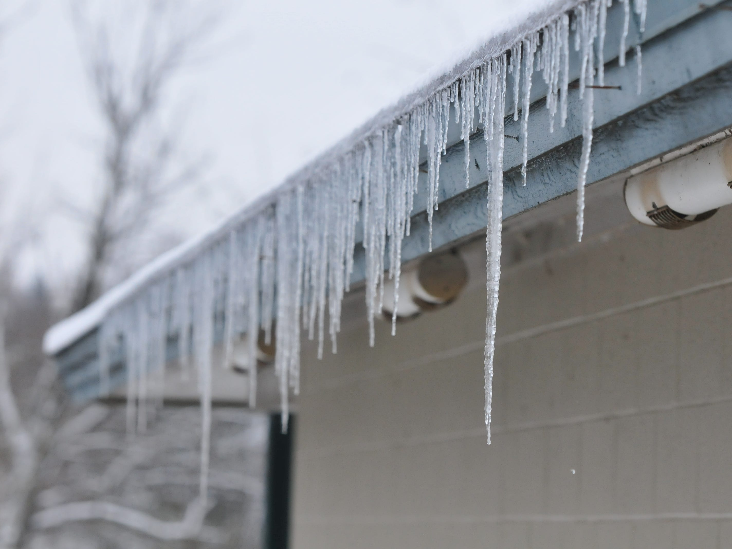 Icicles hung Friday from a building at Glen Miller Park.
