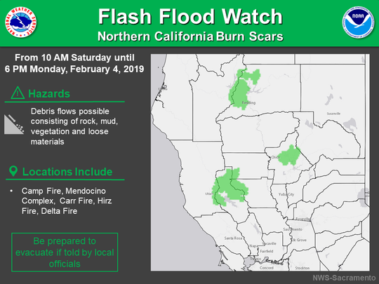 A flash flood watch is in effect this weekend for burn-scarred areas in Shasta County and throughout California.