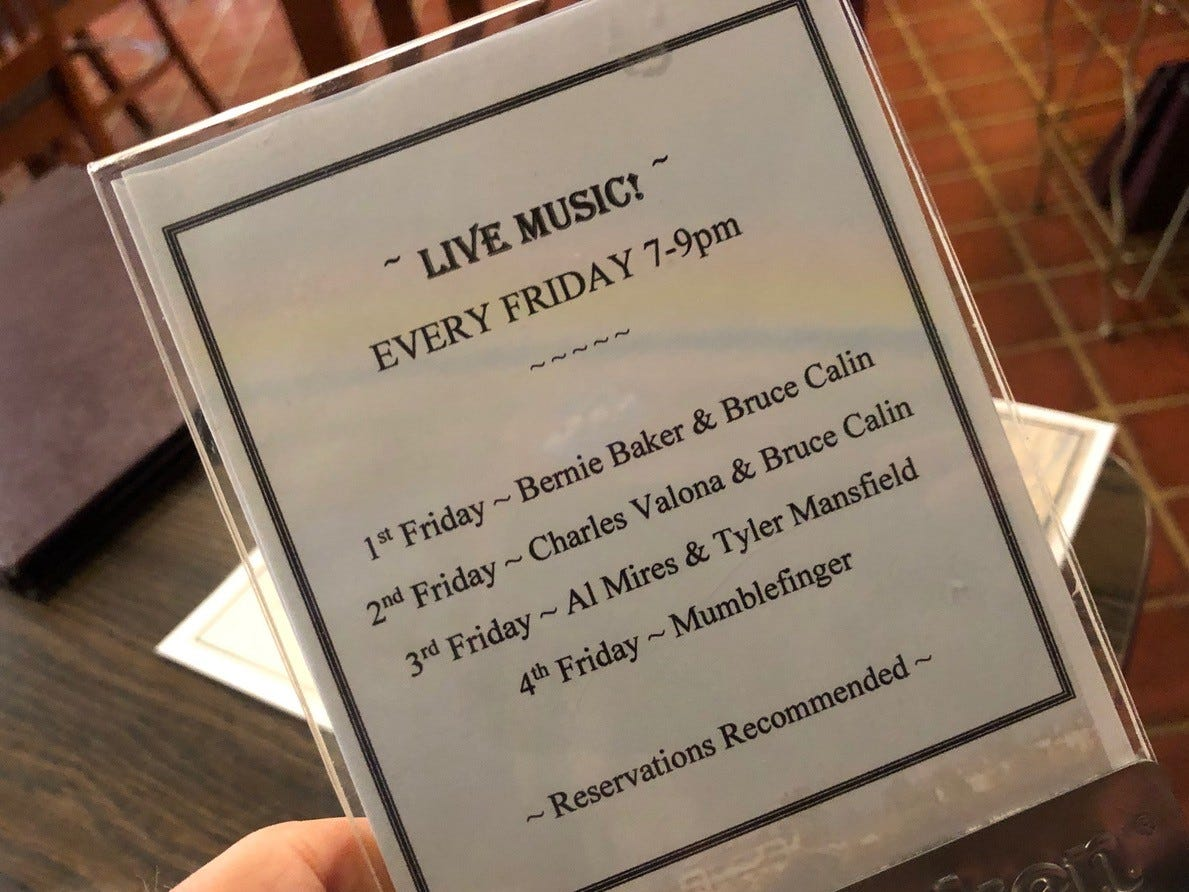 The schedule of live music on Fridays at Cafe Paradisio in downtown Redding.