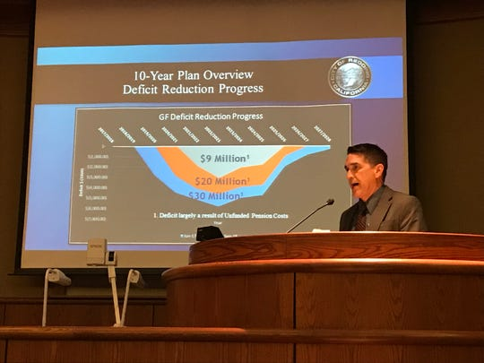 Redding City Manager Barry Tippin explains the impact of pension costs during a city budget workshop held in January.
