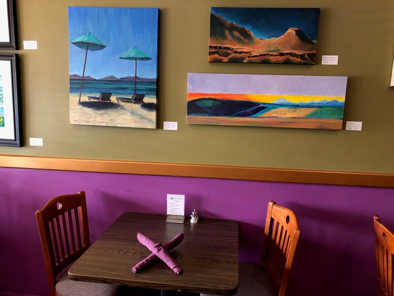 The decor and artwork at Cafe Paradisio in downtown Redding.