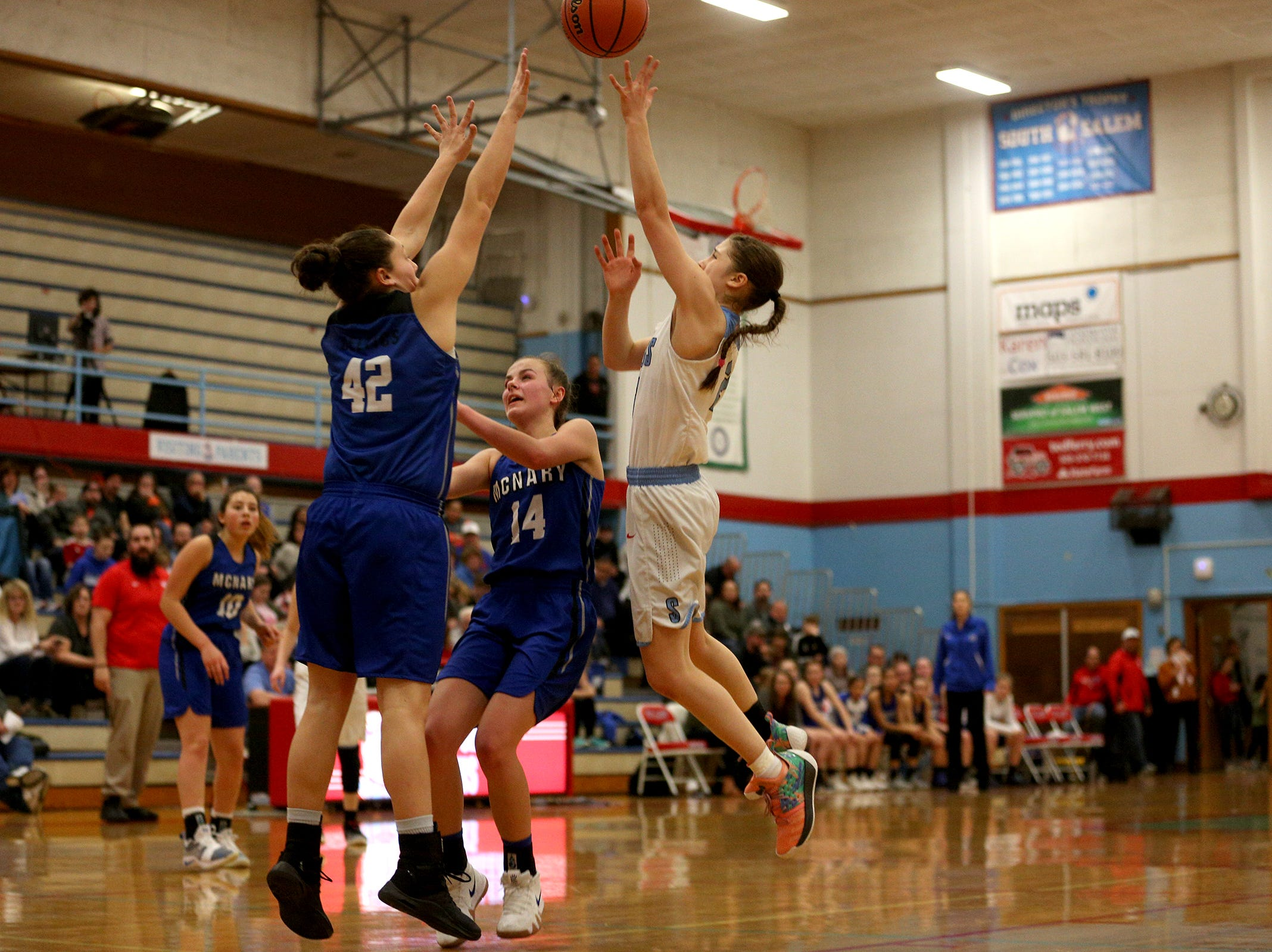 South Salem's Hilary James (2) goes up in the paint during the South Salem High School girls basketball game against McNary High School in Salem on Thursday, Jan. 31, 2019.