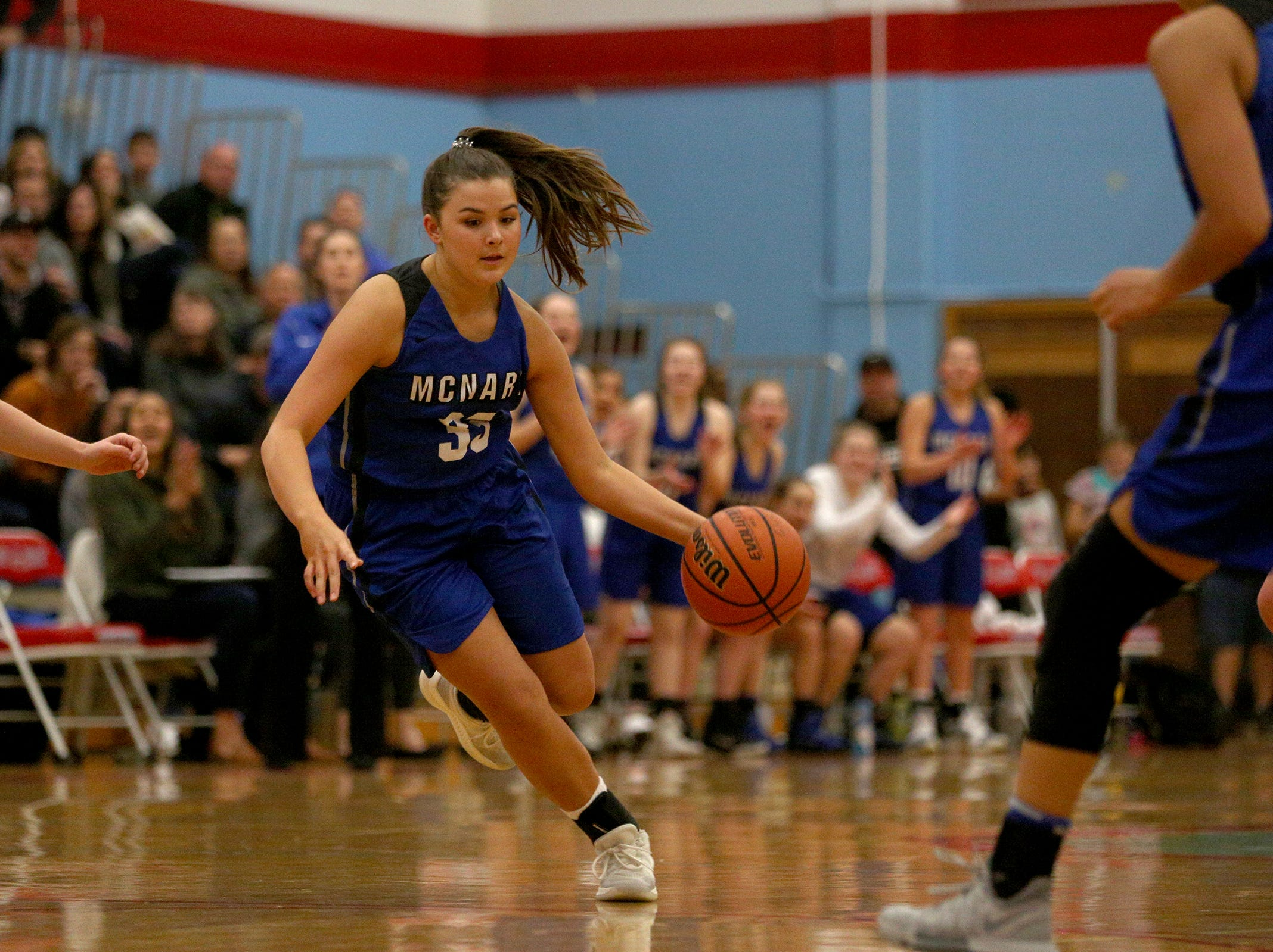 McNary's Mackenzie Proctor makes her way across the court during the South Salem High School girls basketball game against McNary High School in Salem on Thursday, Jan. 31, 2019.