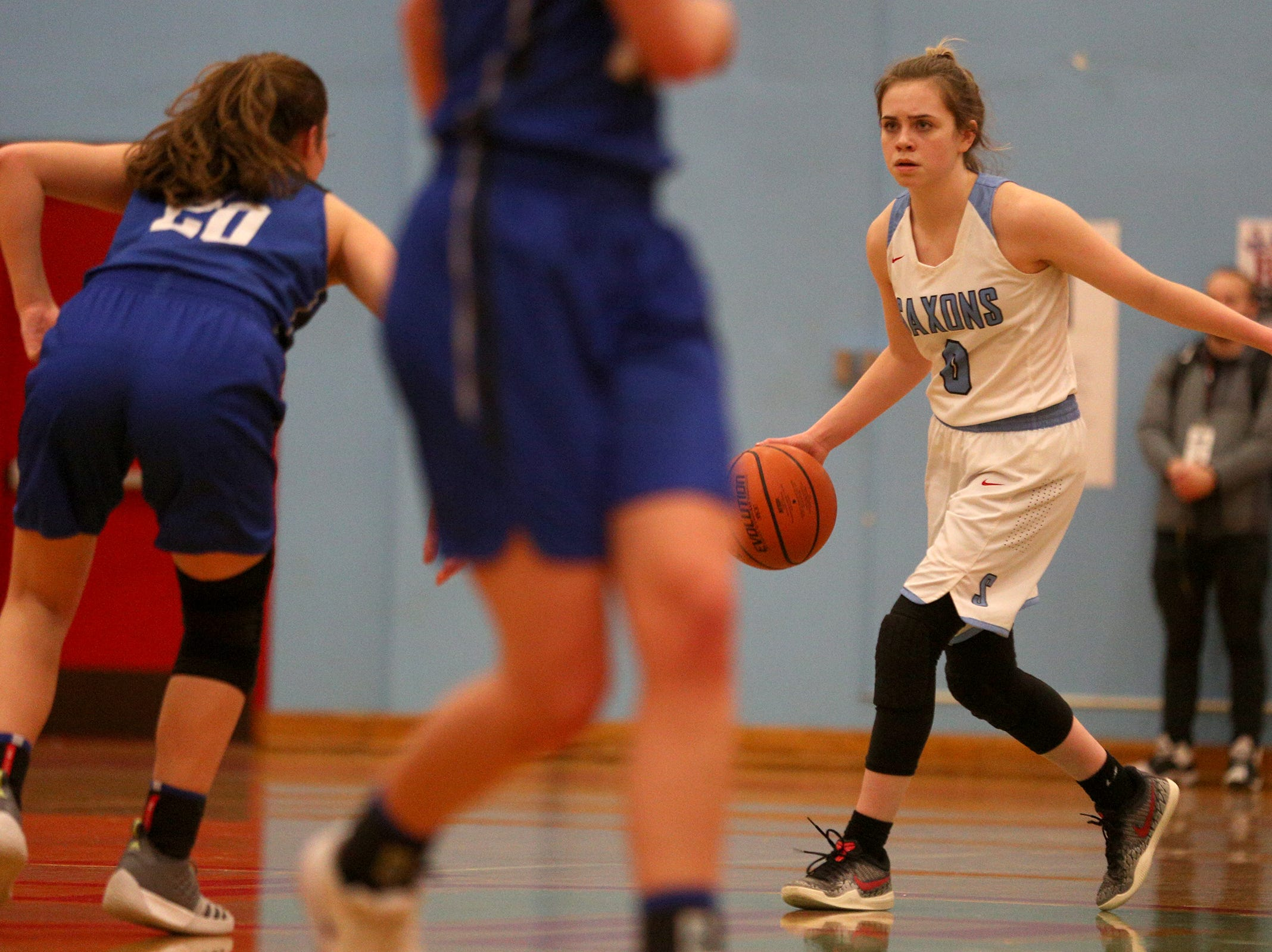 South Salem's Ellyson Haytas (0) looks for an opening during the South Salem High School girls basketball game against McNary High School in Salem on Thursday, Jan. 31, 2019.